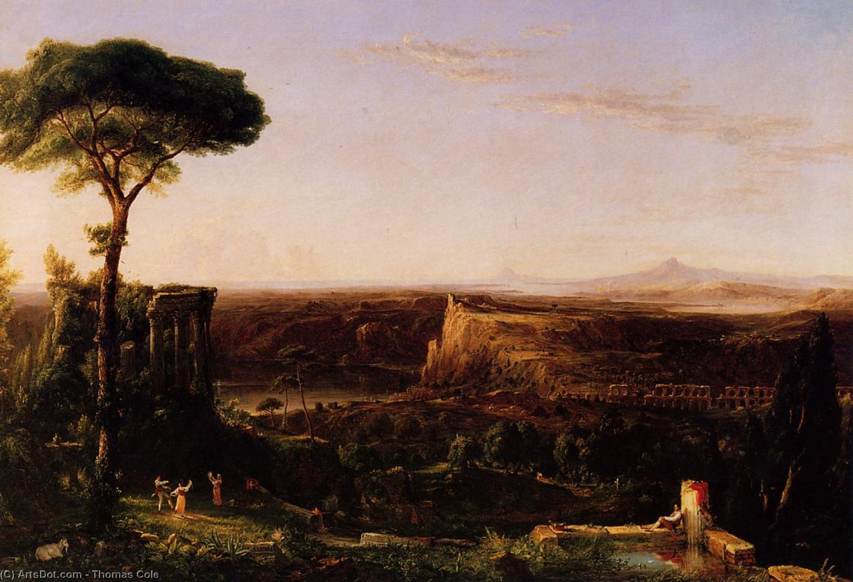 Italian Scene Composition, Oil On Canvas by Thomas Cole (1801-1848, United Kingdom)