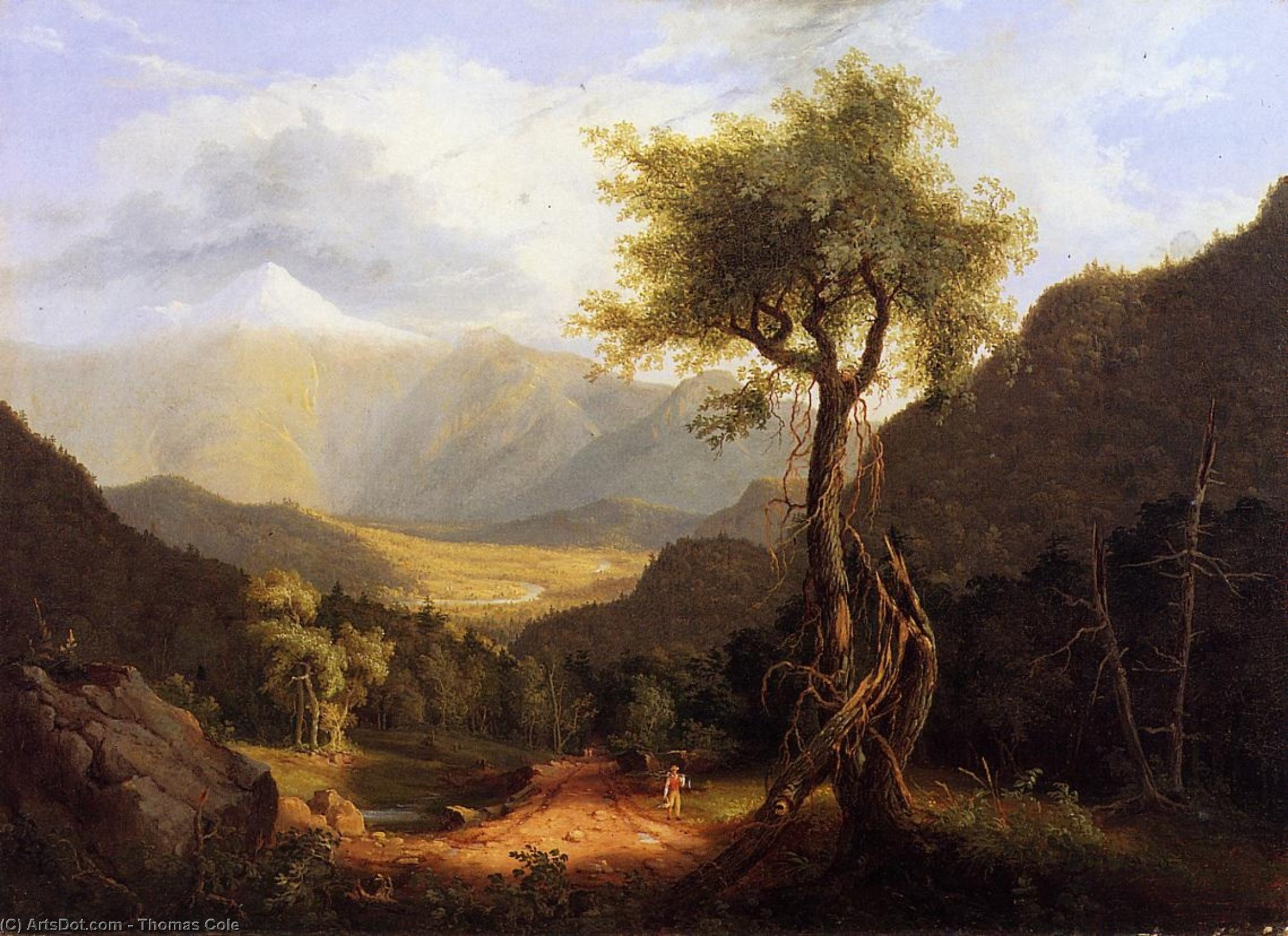 View in the White Mountains I, Oil by Thomas Cole (1801-1848, United Kingdom)