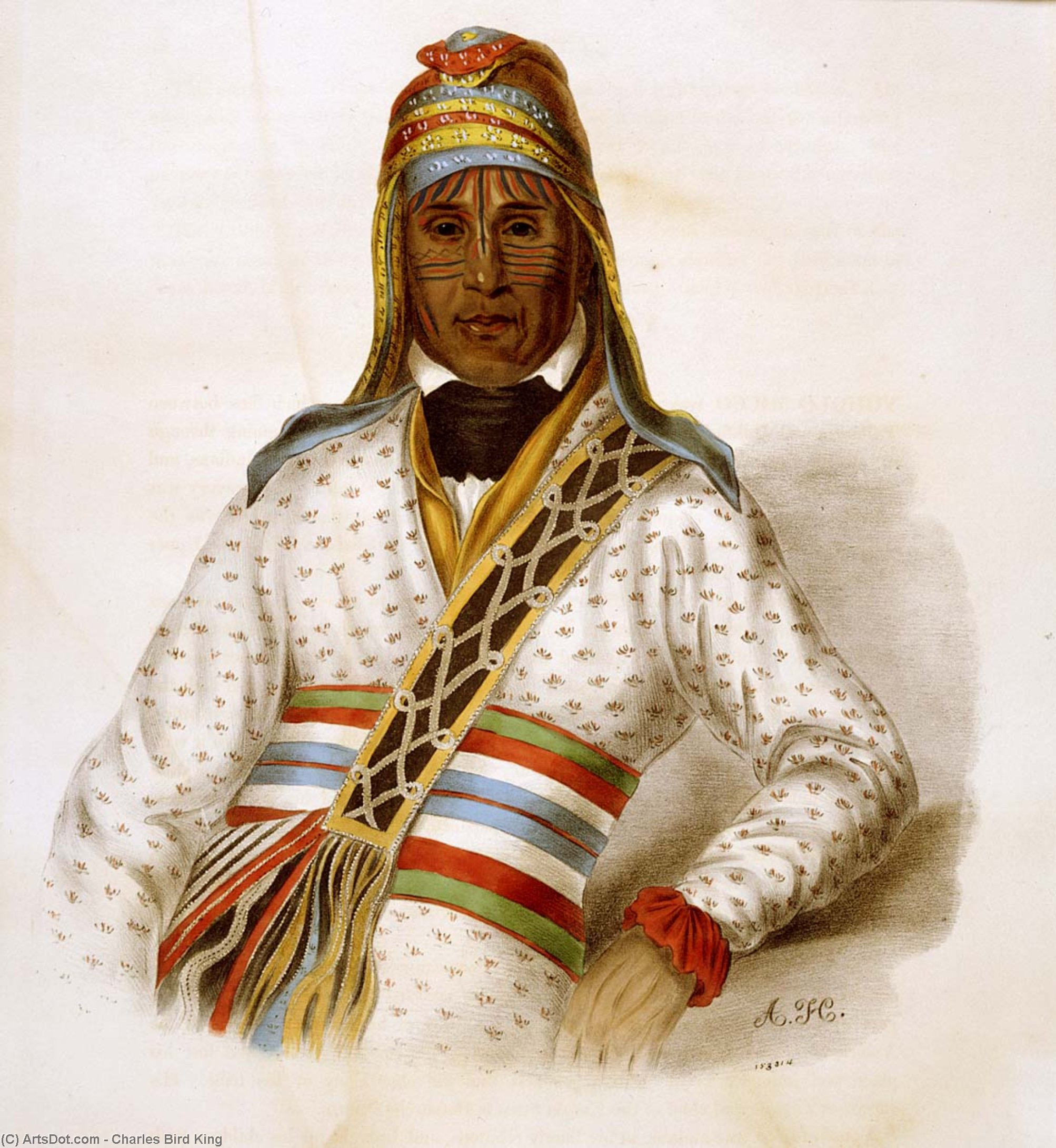 YOHOLO-MICCO. A CREEK CHIEF, Oil by Charles Bird King (1785-1862, United States)