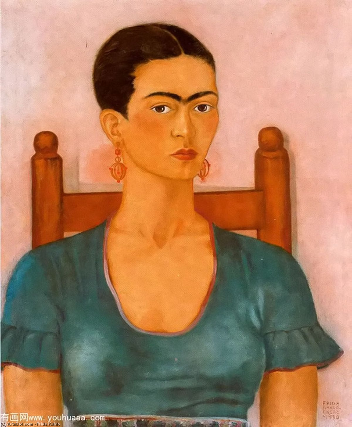Self-Portrait 3, Oil by Frida Kahlo (1907-1954, Mexico)