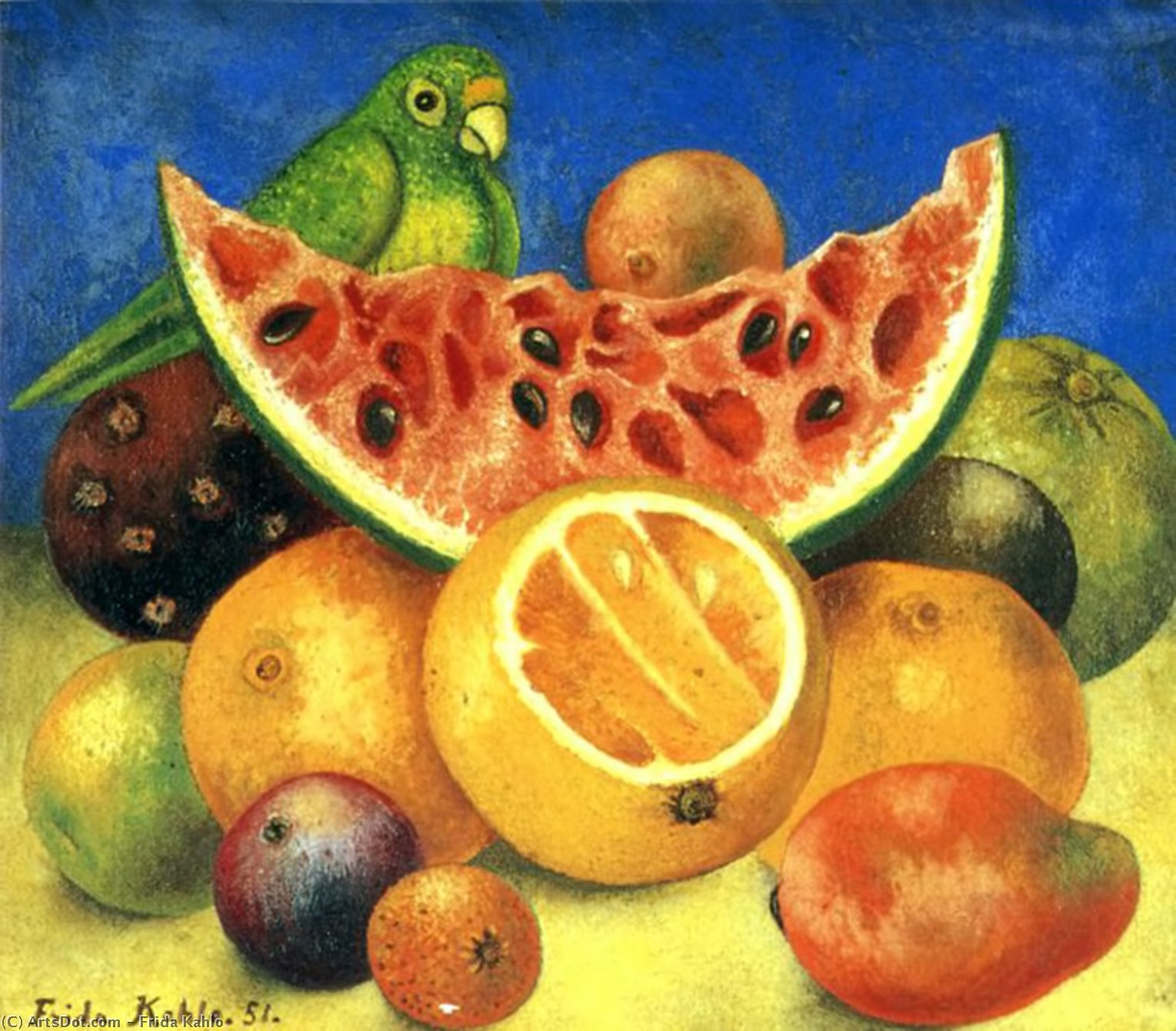 Still Life with Parrot, Oil by Frida Kahlo (1907-1954, Mexico)