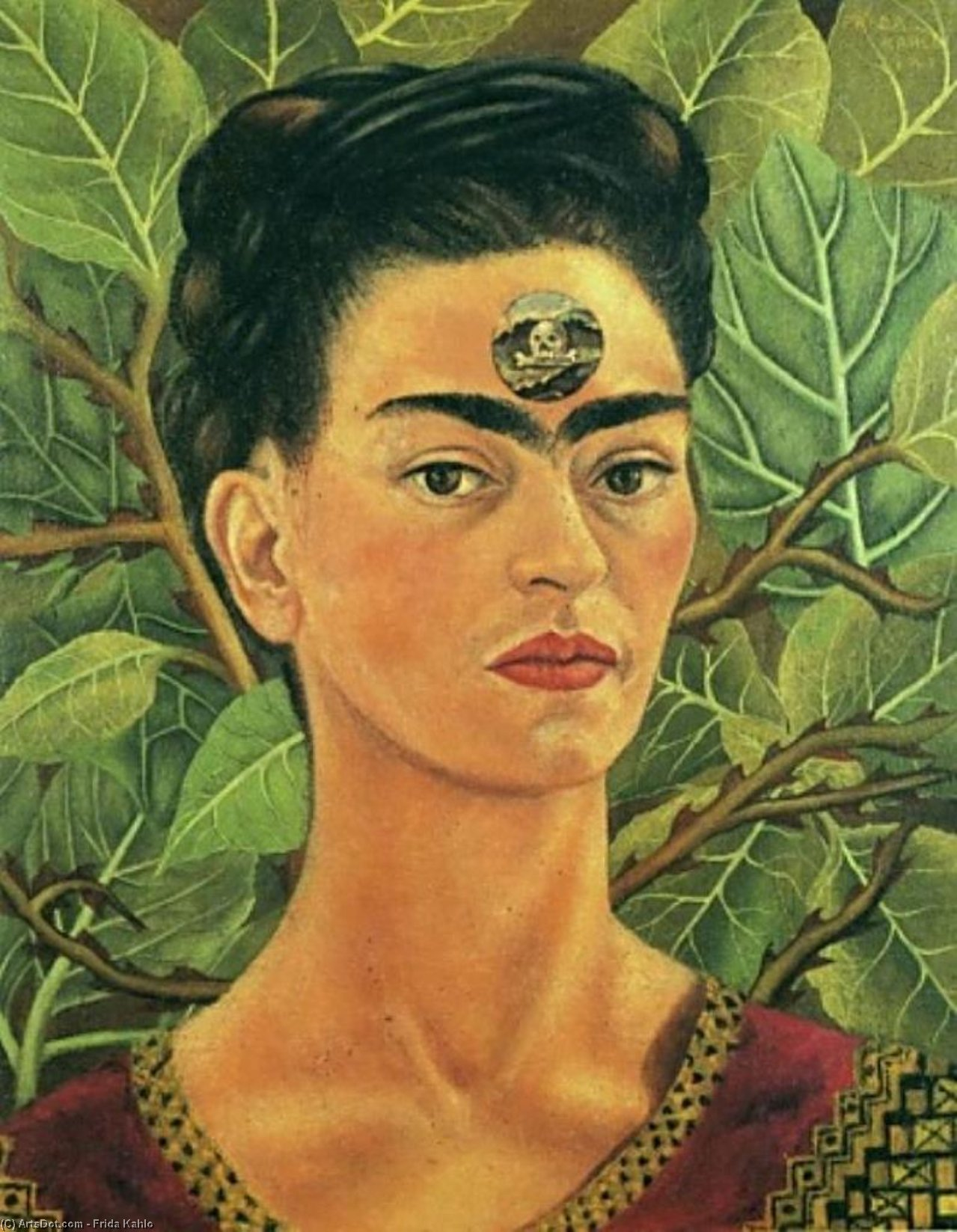 Thinking about Death, Oil by Frida Kahlo (1907-1954, Mexico)