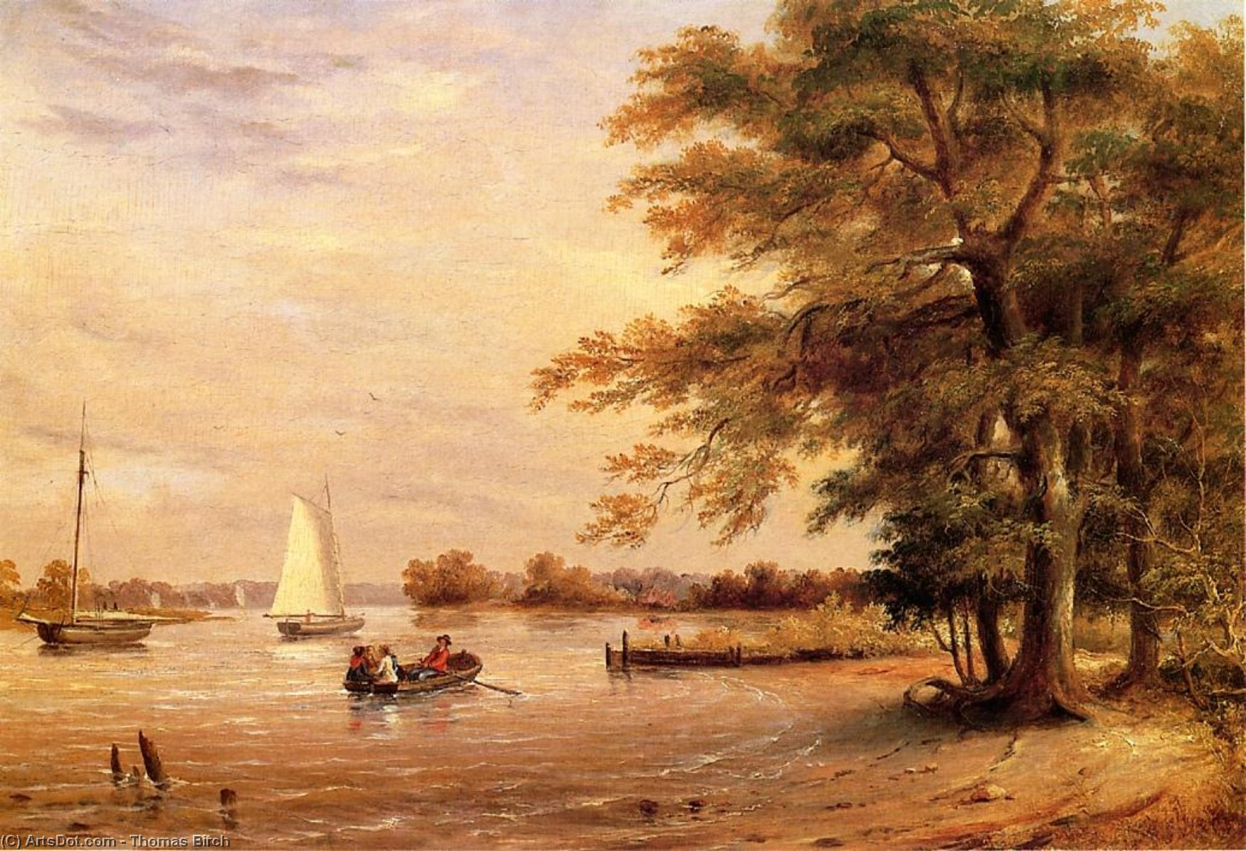 On the Shrewsbury River, Redbank, New Jersey, Oil On Panel by Thomas Birch (1779-1851, United Kingdom)