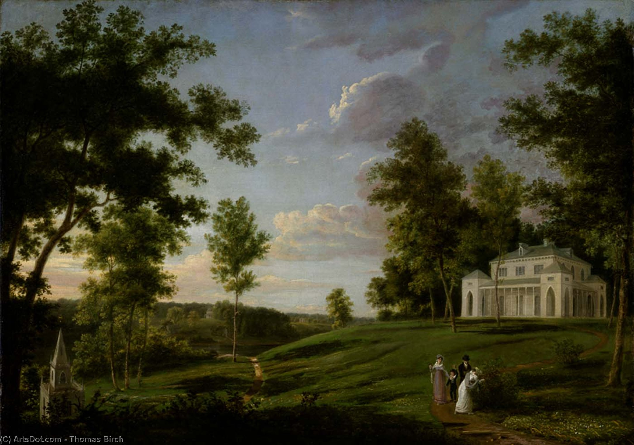 Southeast View of Sedgeley Park, the Country Seat of James Cowles Fisher, Esq., Oil by Thomas Birch (1779-1851, United Kingdom)