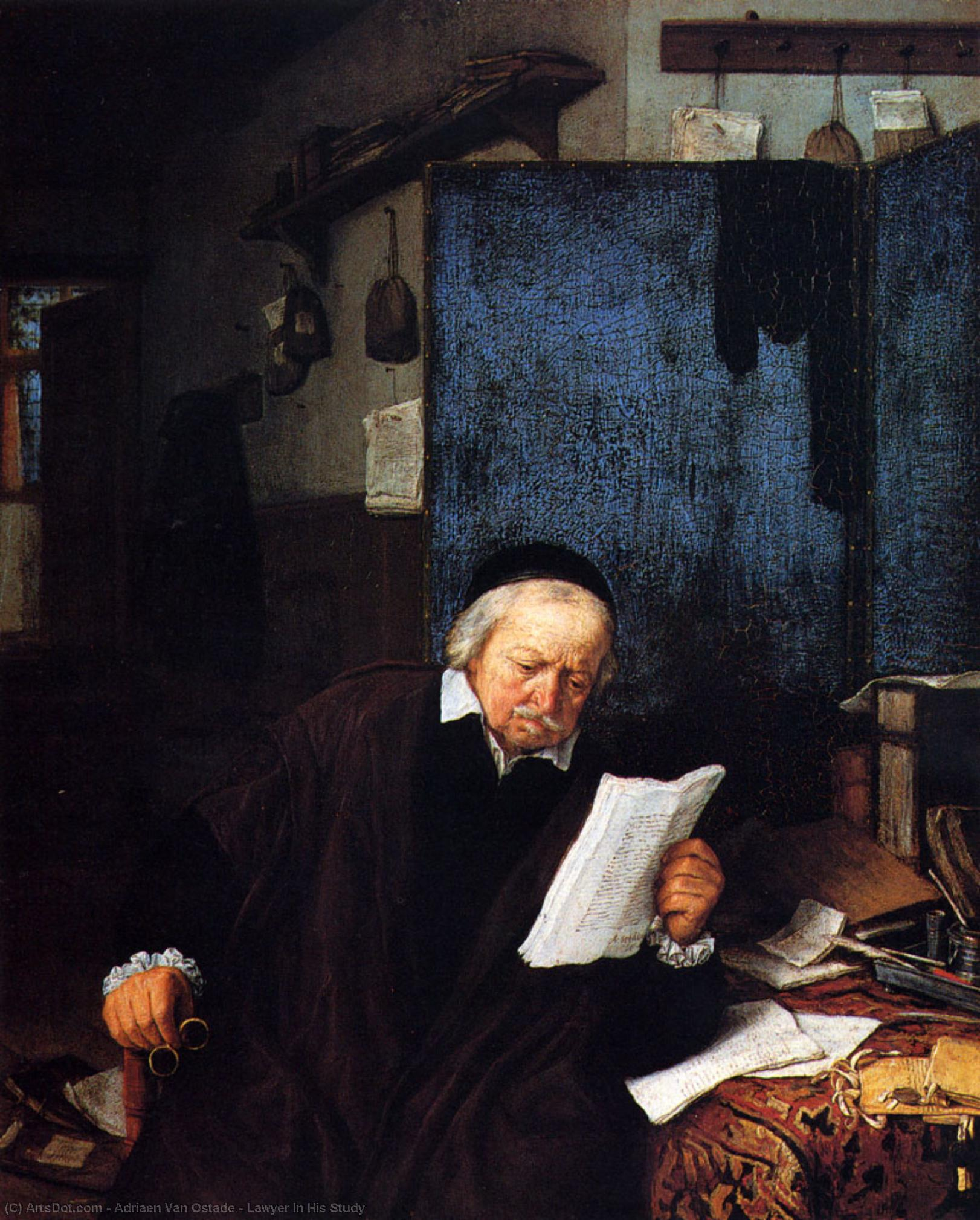 Buy Museum Art Reproductions | Lawyer In His Study by Adriaen Van Ostade (1610-1685, Netherlands) | ArtsDot.com