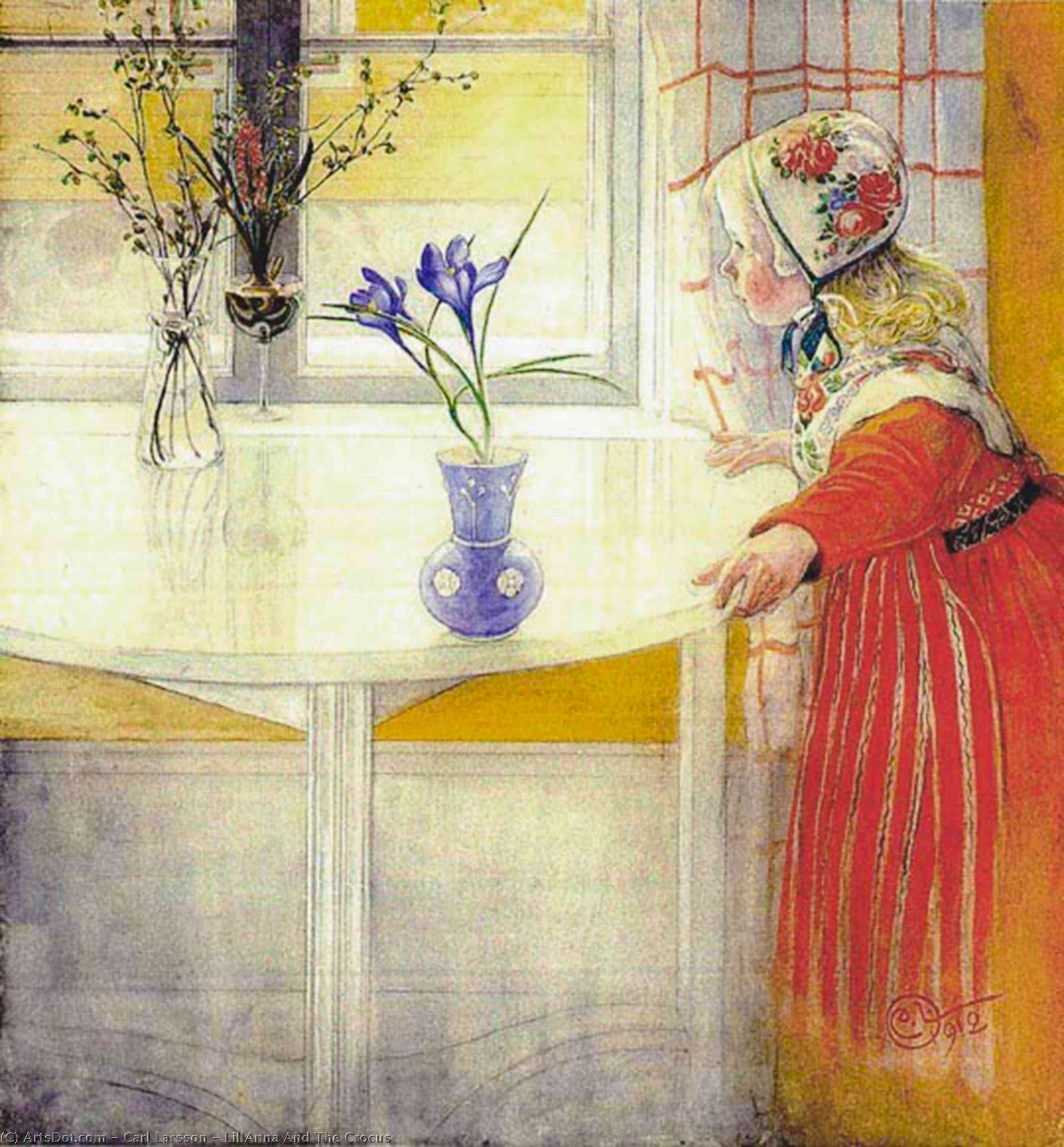 Order Oil Painting : LillAnna And The Crocus, 1912 by Carl Larsson (1919-1919, Sweden) | ArtsDot.com