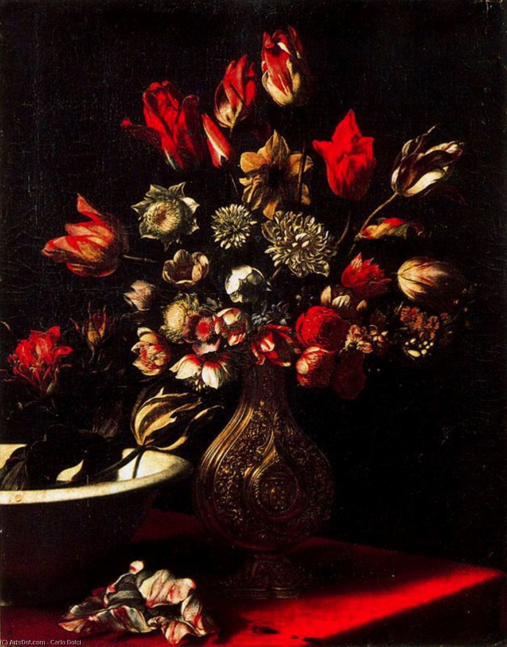 Death nature with flowers, Oil by Carlo Dolci (1616-1686, Italy)