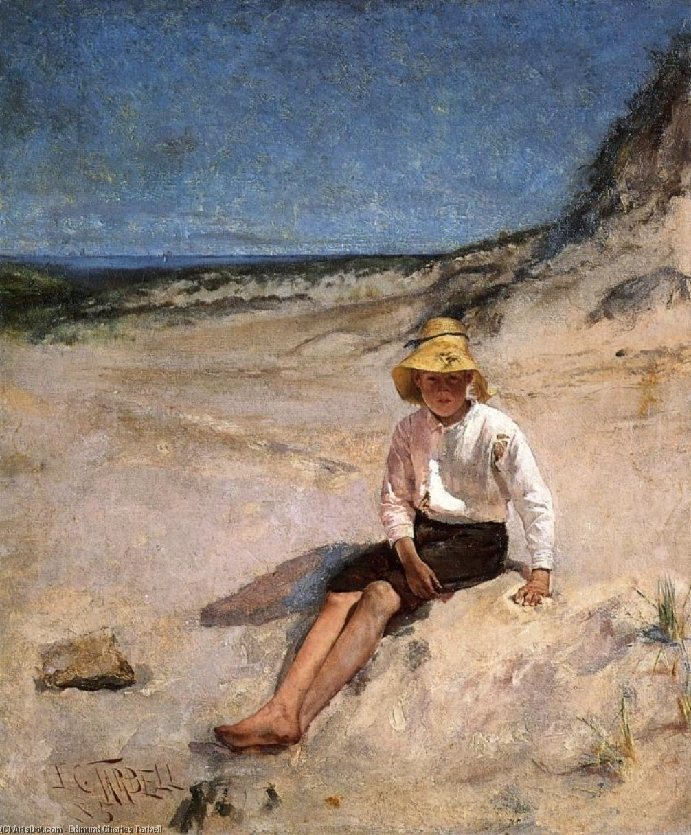 Boy on the Beach, Oil by Edmund Charles Tarbell (1862-1938, United States)