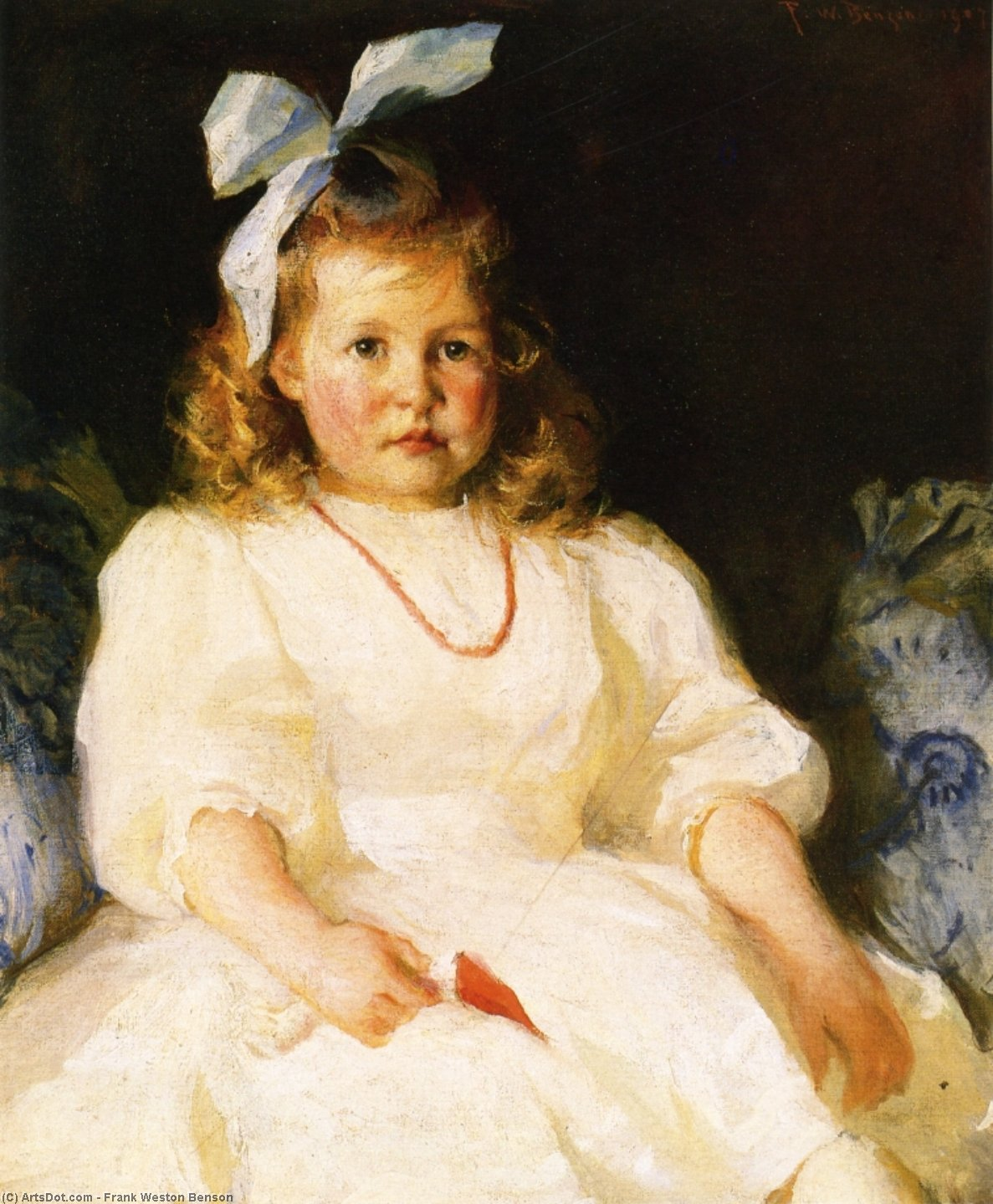 Portrait of Elizabeth Tyson Russell, Oil by Frank Weston Benson (1862-1951, United States)