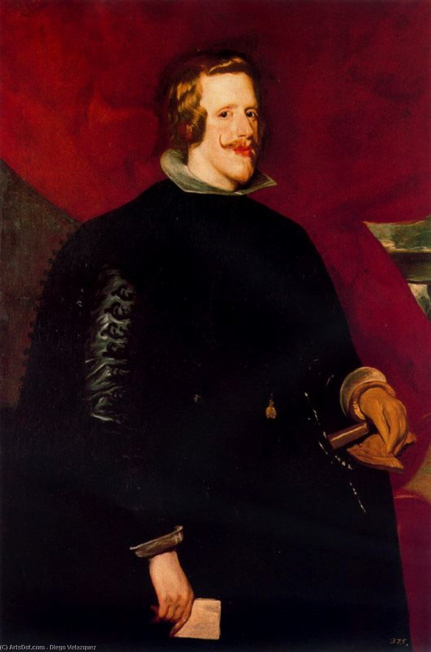 Felipe IV, Oil by Diego Velazquez (1599-1660, Spain)
