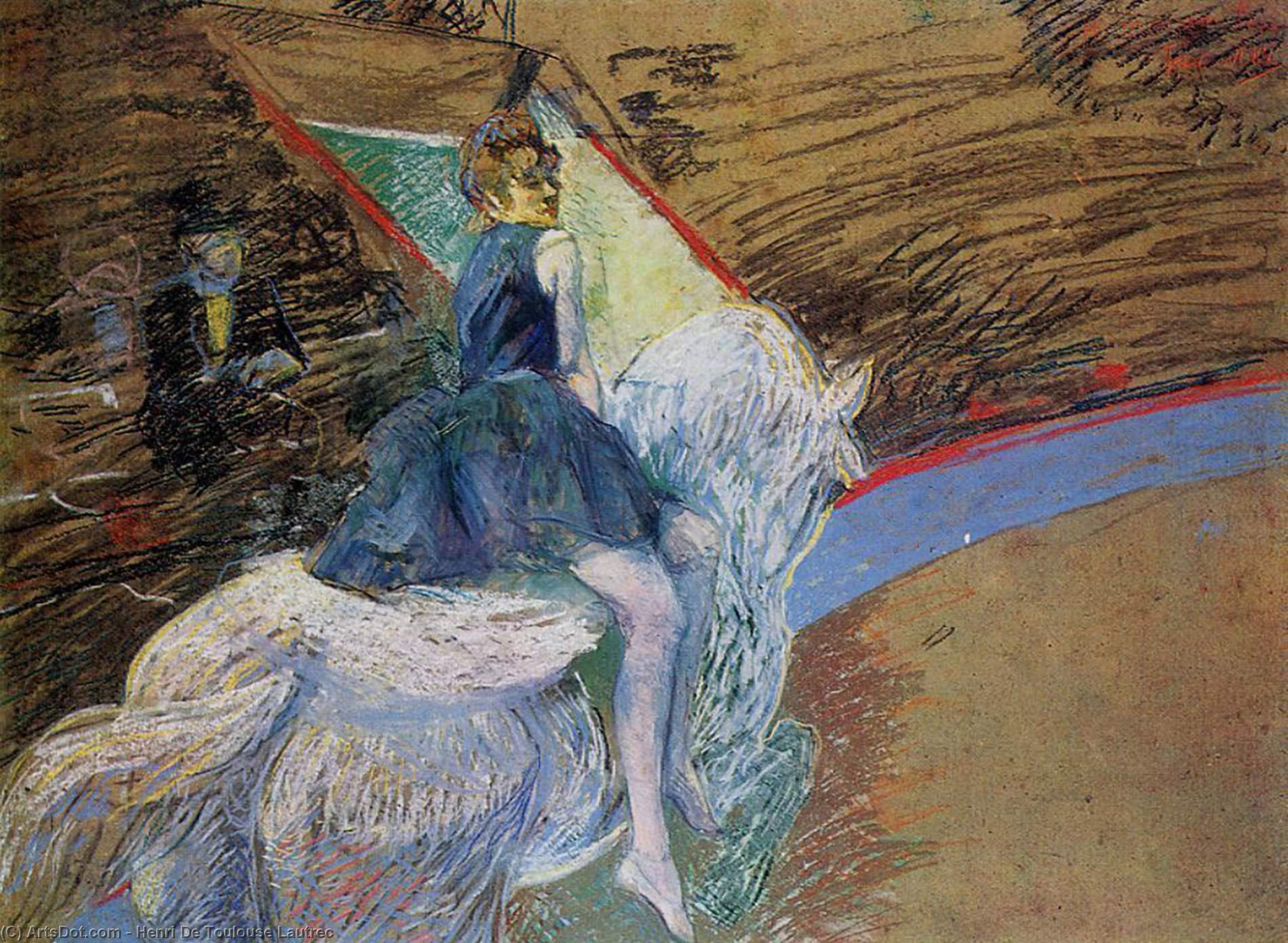 At the Cirque Fernando. Rider on a White Horse, Oil by Henri De Toulouse Lautrec (1864-1901, France)