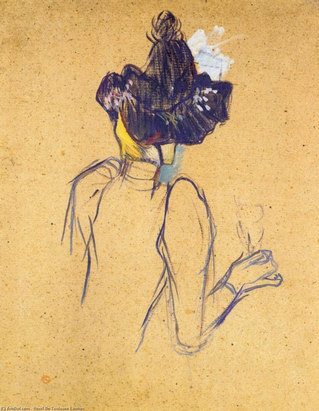 Jane Avril Seen from the Back, Oil by Henri De Toulouse Lautrec (1864-1901, France)