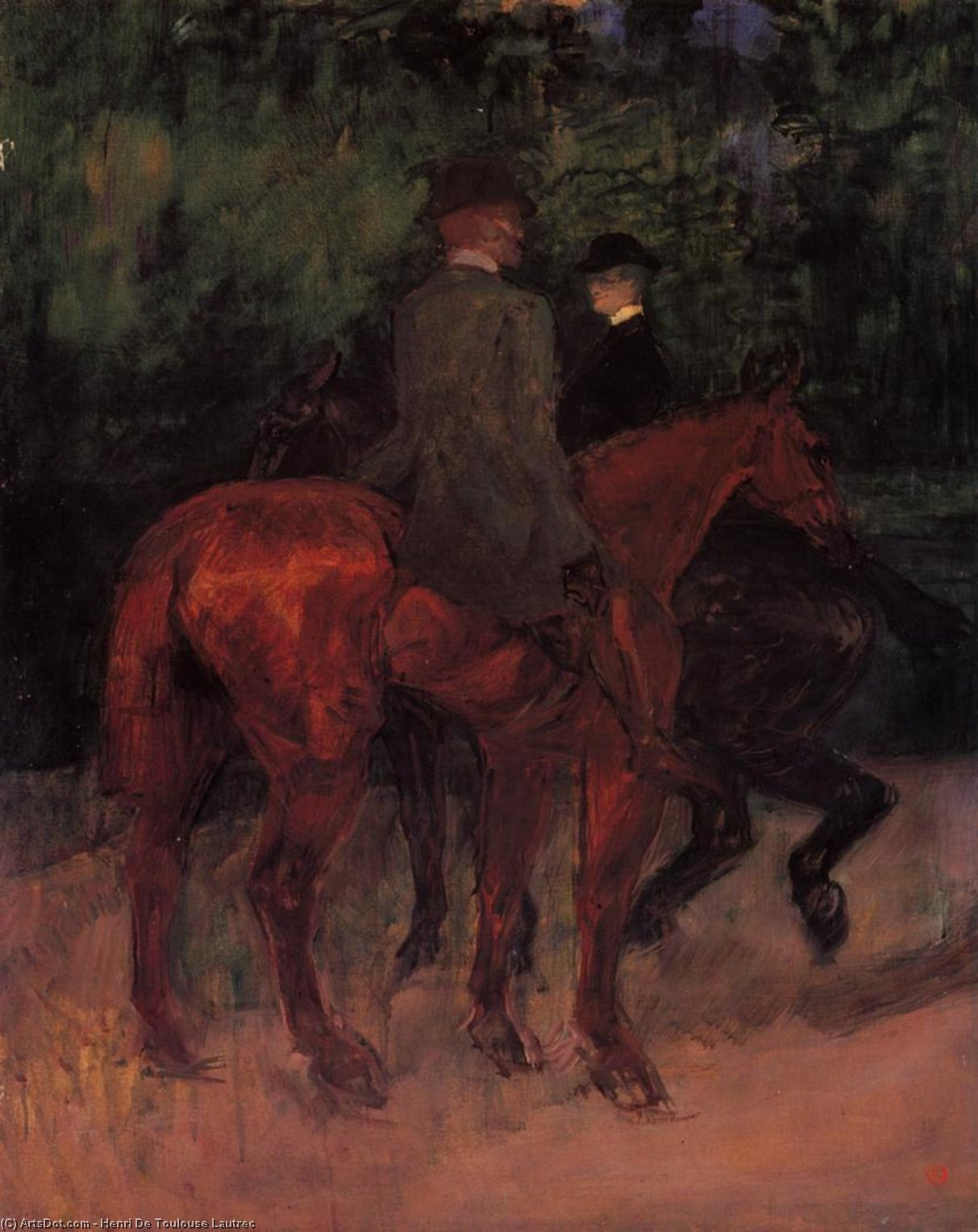 Man and Woman Riding through the Woods, Oil On Canvas by Henri De Toulouse Lautrec (1864-1901, France)
