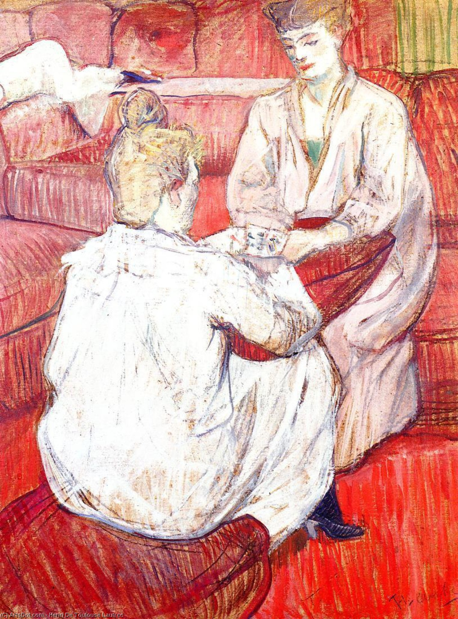 The Card Players, Oil by Henri De Toulouse Lautrec (1864-1901, France)