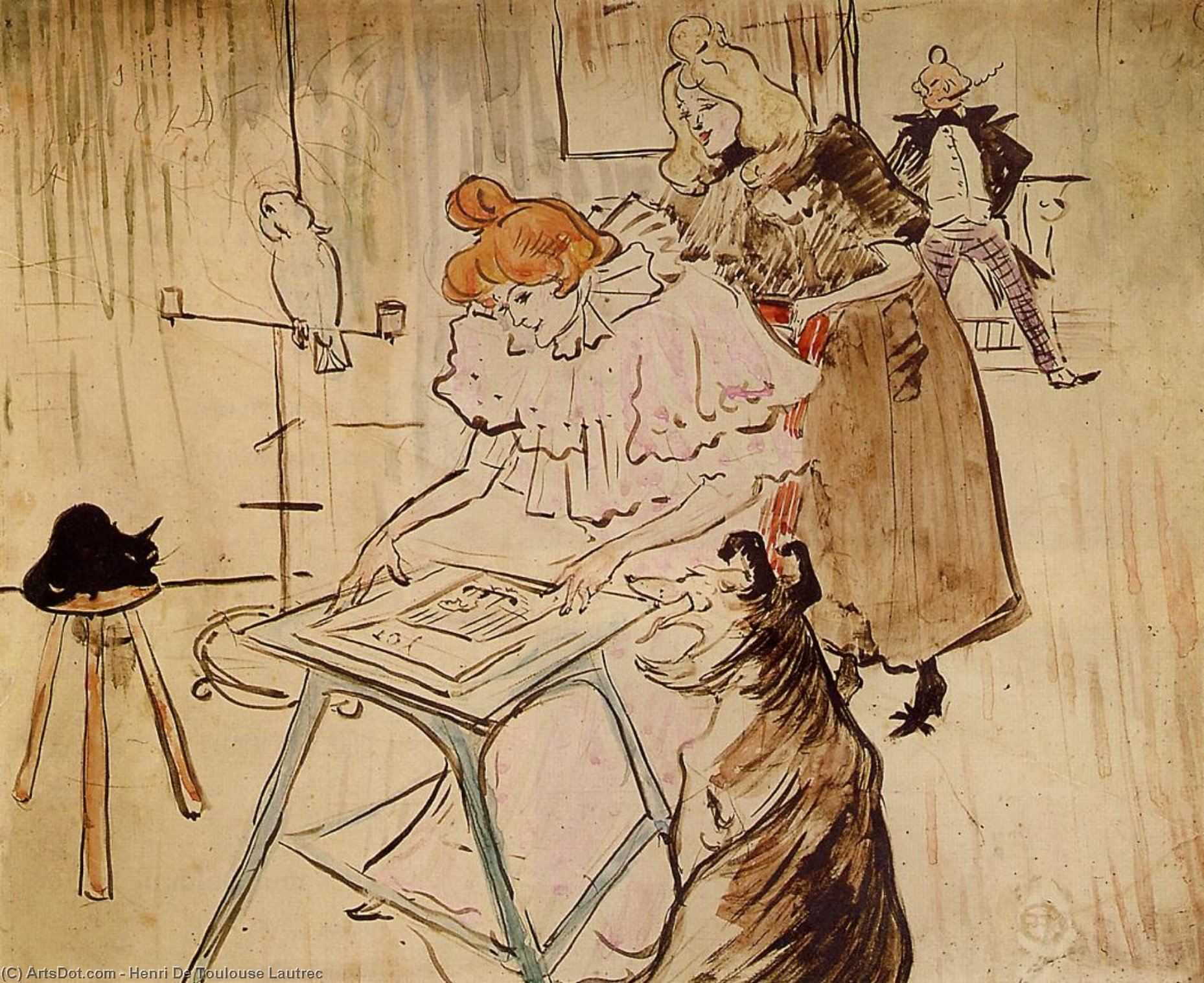 The Motograph 1, Oil by Henri De Toulouse Lautrec (1864-1901, France)