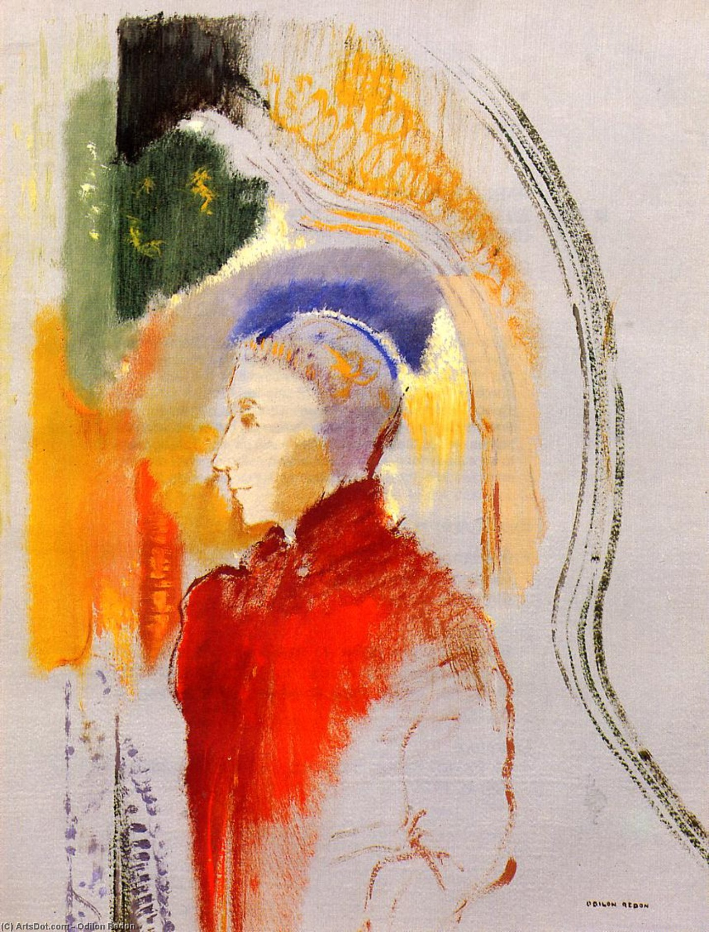 Buy Museum Art Reproductions : Figure in Profile, 1905 by Odilon Redon (1840-1916, France) | ArtsDot.com