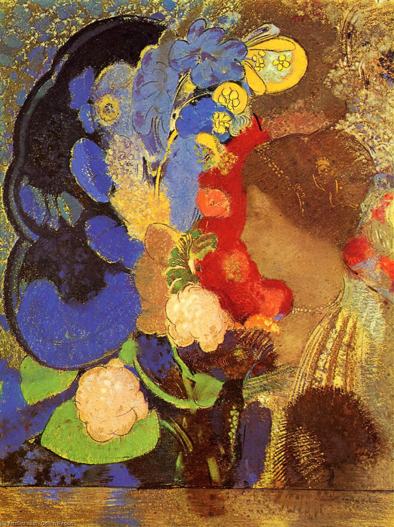 Woman among the Flowers, 1910 by Odilon Redon (1840-1916, France) | Museum Art Reproductions | ArtsDot.com