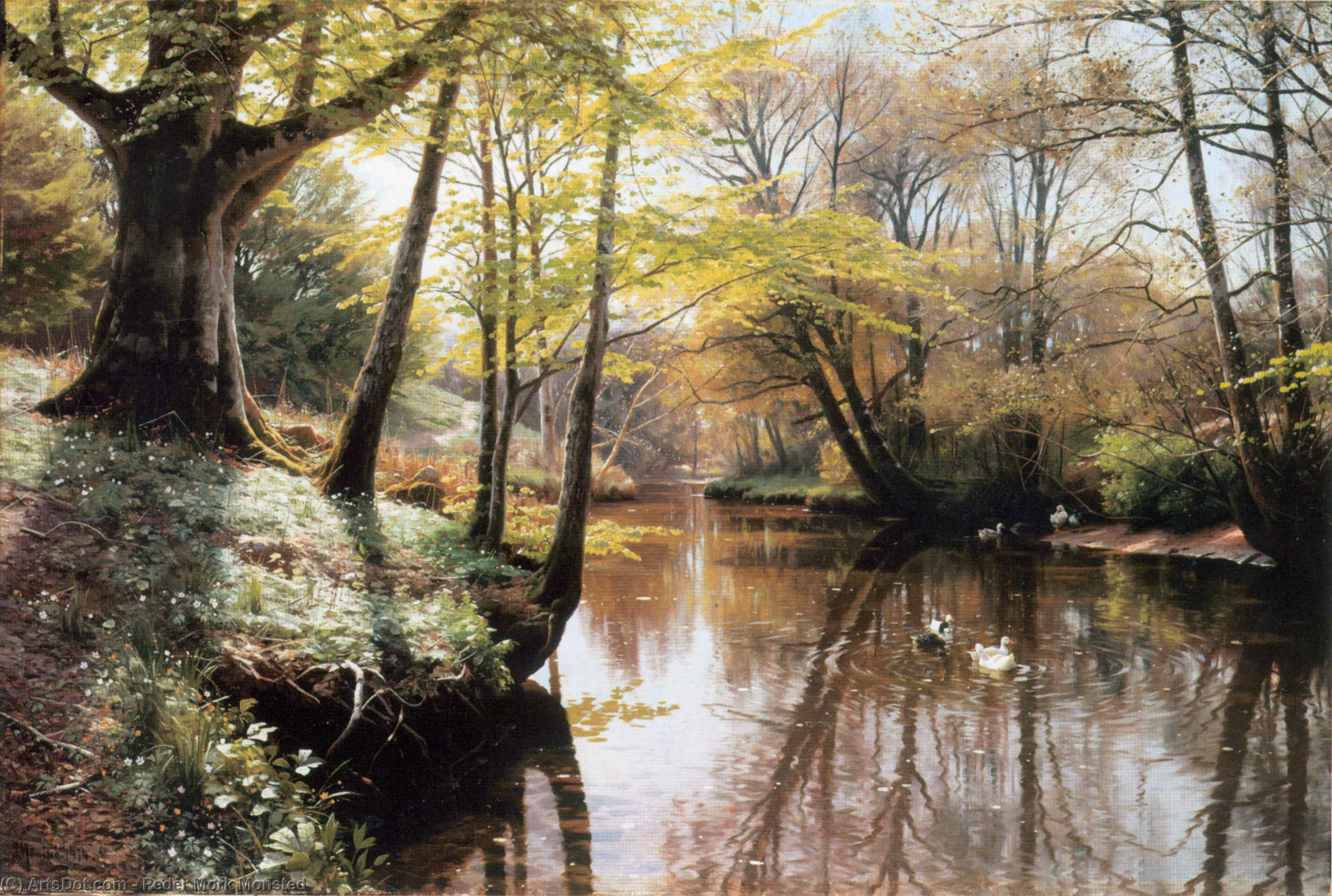 Flodlandskab, Oil by Peder Mork Monsted (1859-1941, Denmark)