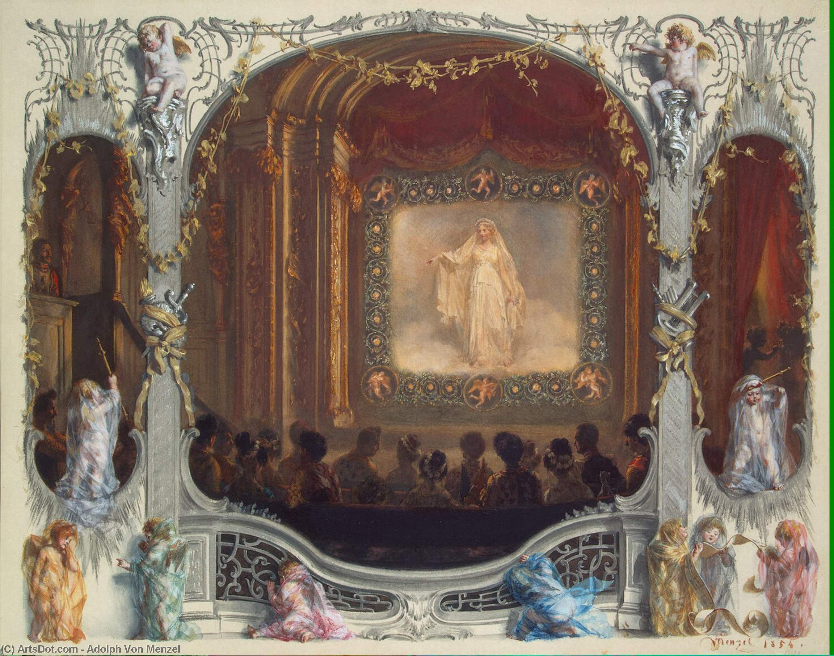Festival in the Theatre of the New Palace. 1829 by Adolph Menzel (1815-1905, Poland) | Oil Painting | ArtsDot.com