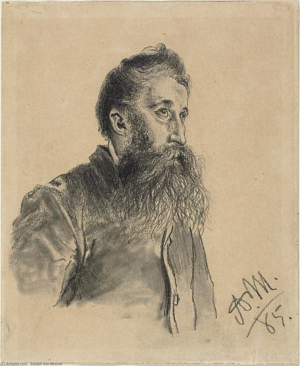 Portrait of a Bearded Man by Adolph Menzel (1815-1905, Poland)