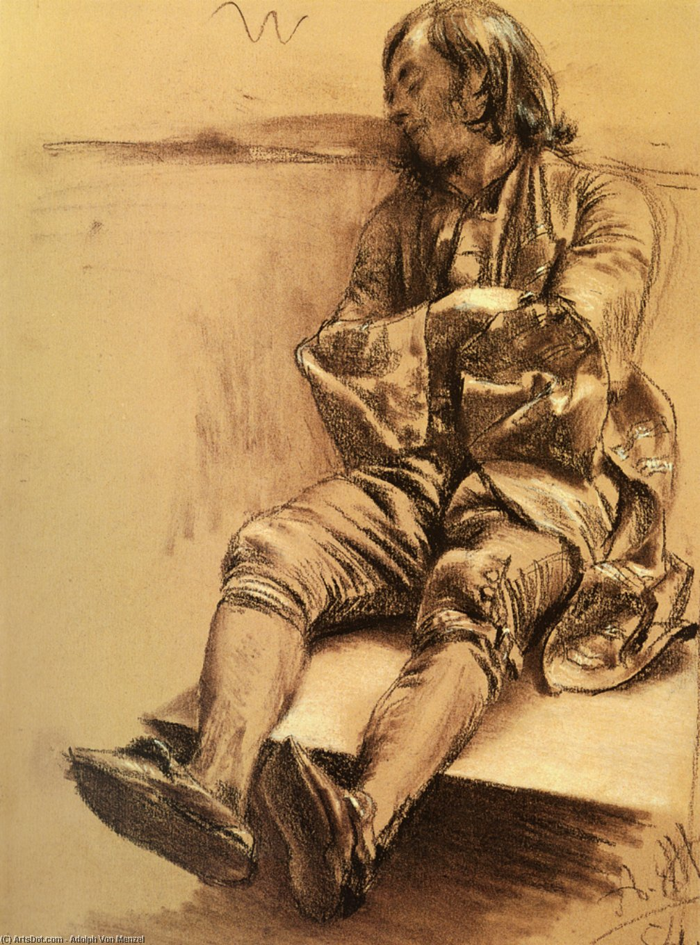 Sleeper, Drawing by Adolph Menzel (1815-1905, Poland)