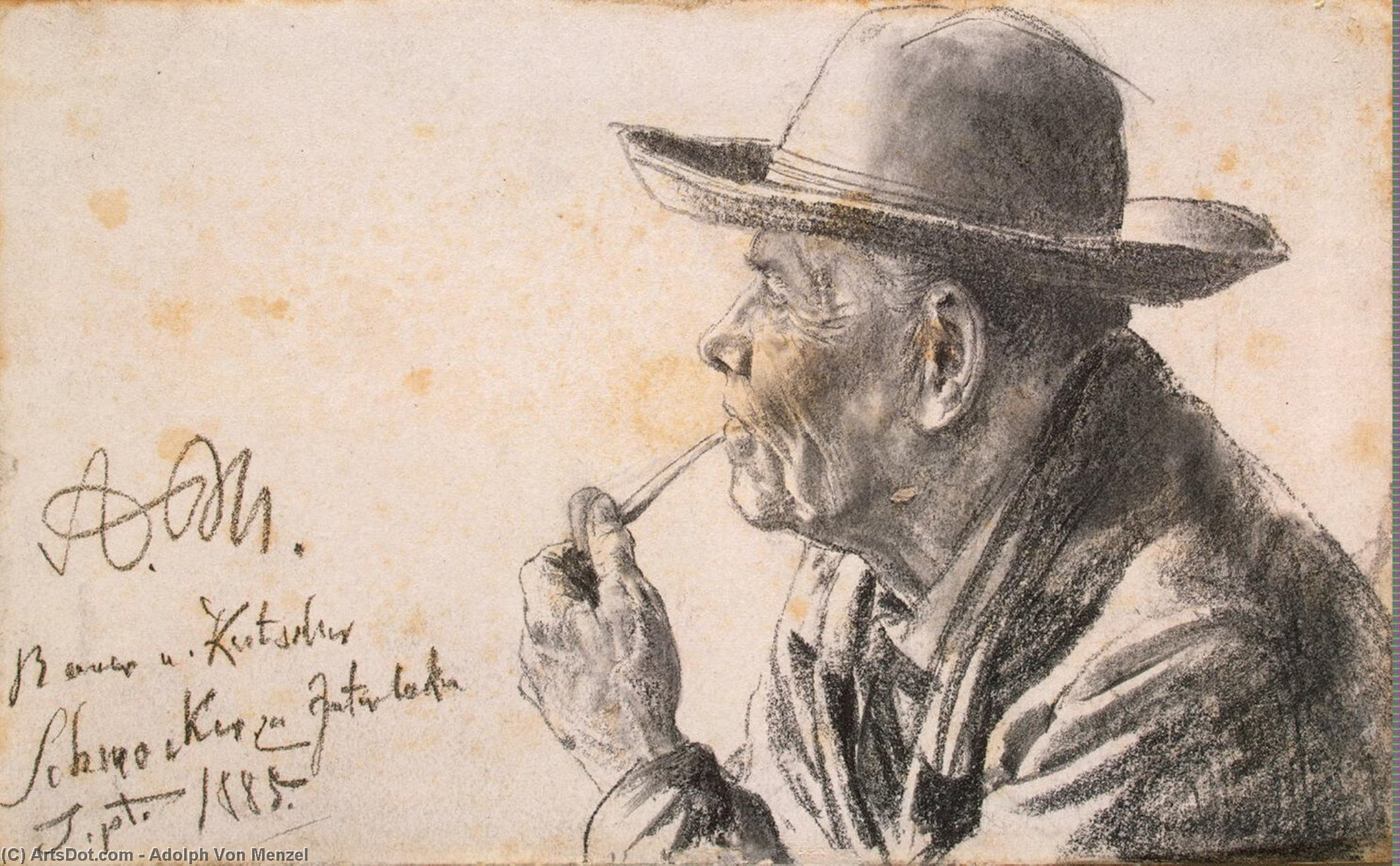 Study of a Man in a Hat with a Pipe, Drawing by Adolph Menzel (1815-1905, Poland)