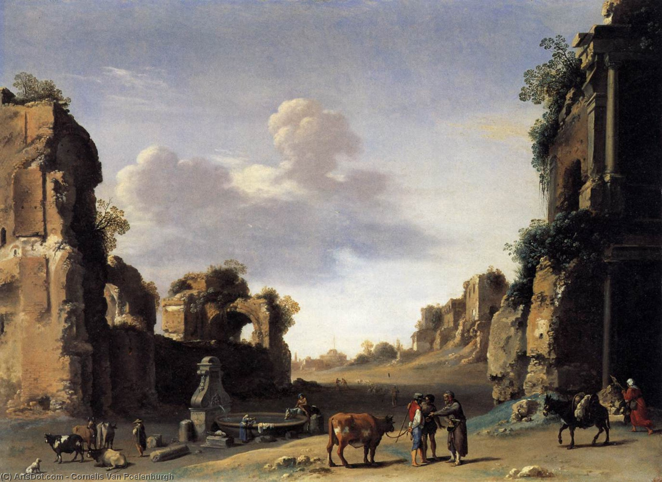 View of the Campo Vaccino, Oil On Copper by Cornelis Van Poelenburgh (1595-1667, Netherlands)
