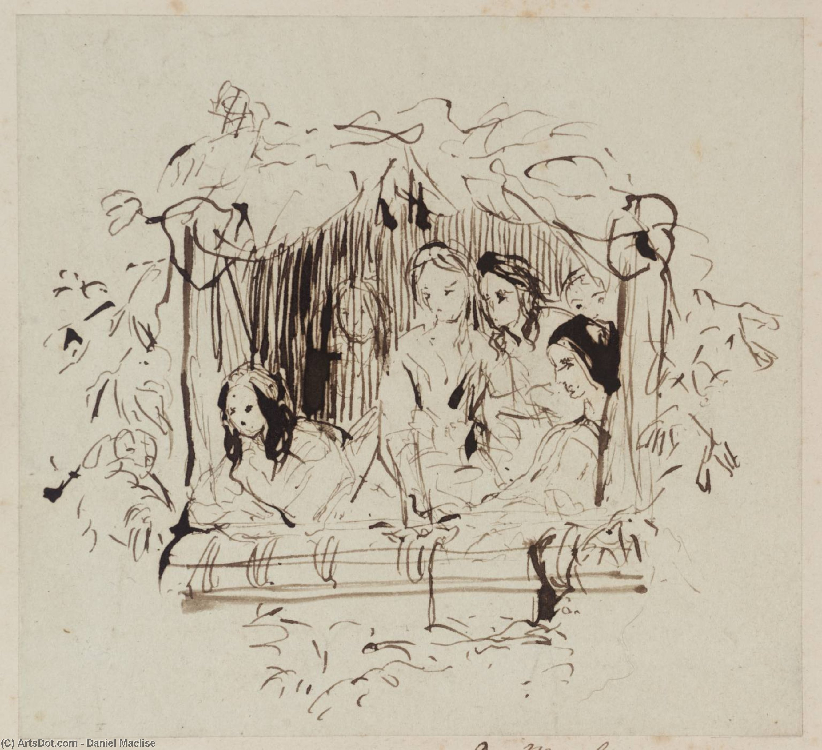 The Opera Box, Design for a Wood Engraving. Preliminary Sketch, Drawing by Daniel Maclise (1806-1870, Ireland)