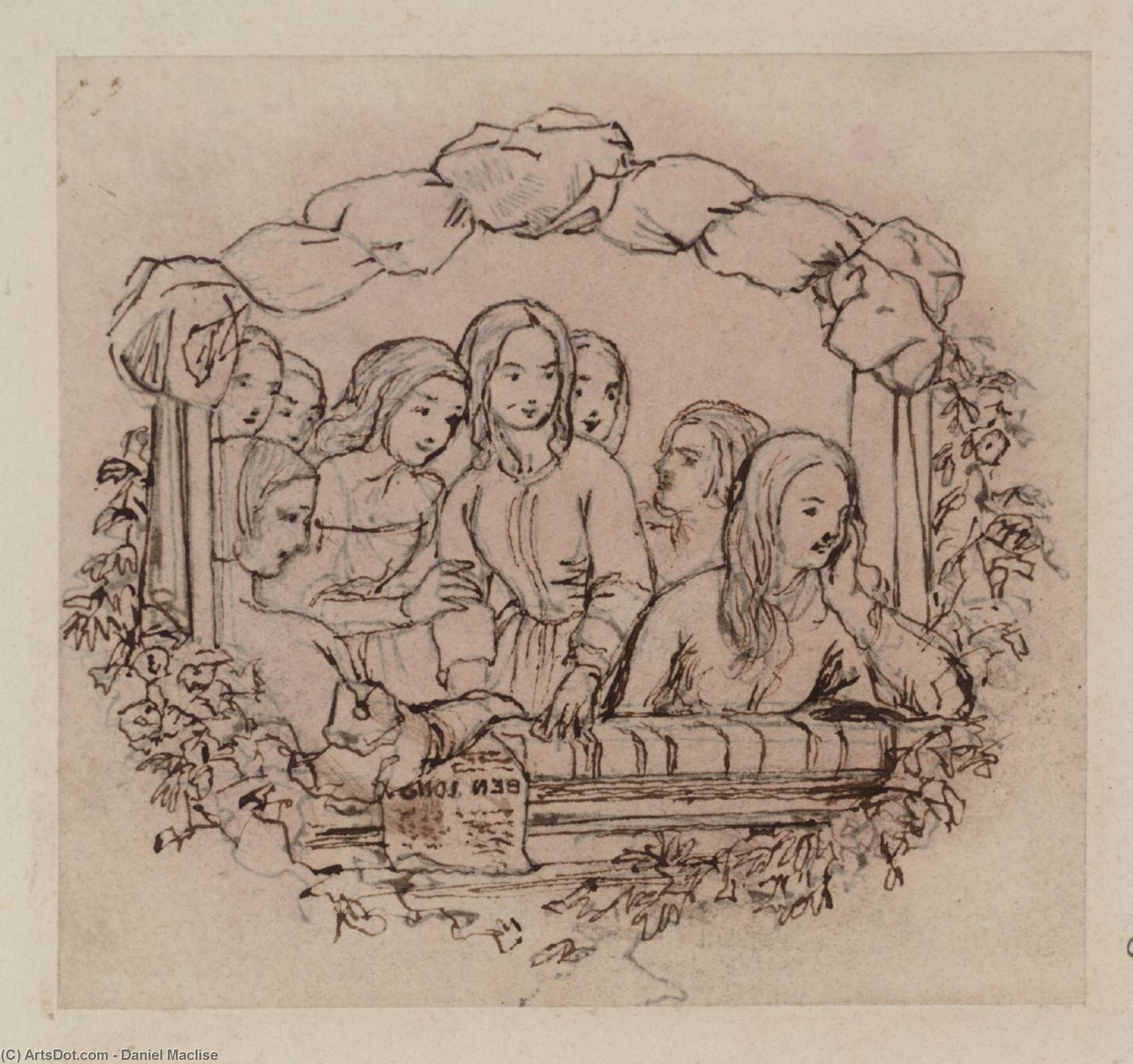 Buy Museum Art Reproductions : The Opera Box, Design for a Wood Engraving. Tracing, from the Principal Figure in Reverse by Daniel Maclise (1806-1870, Ireland) | ArtsDot.com