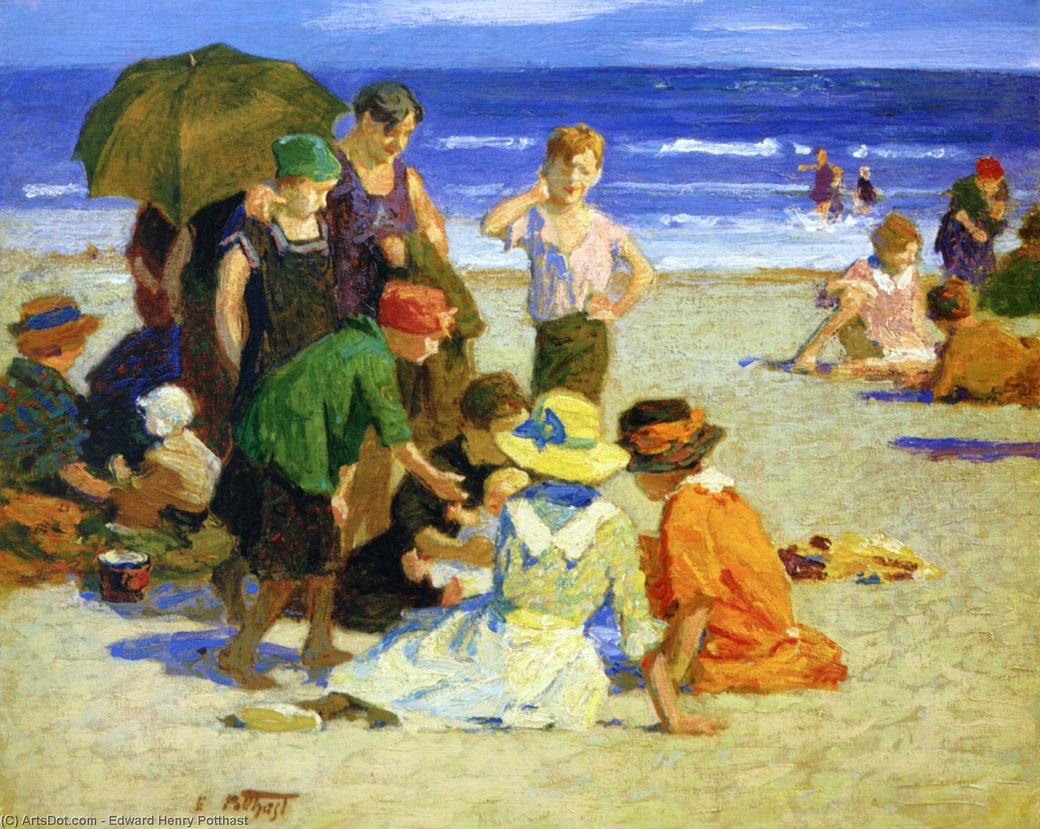 A Family Outing 1 by Edward Henry Potthast (1857-1927, United States) | Museum Art Reproductions Edward Henry Potthast | ArtsDot.com