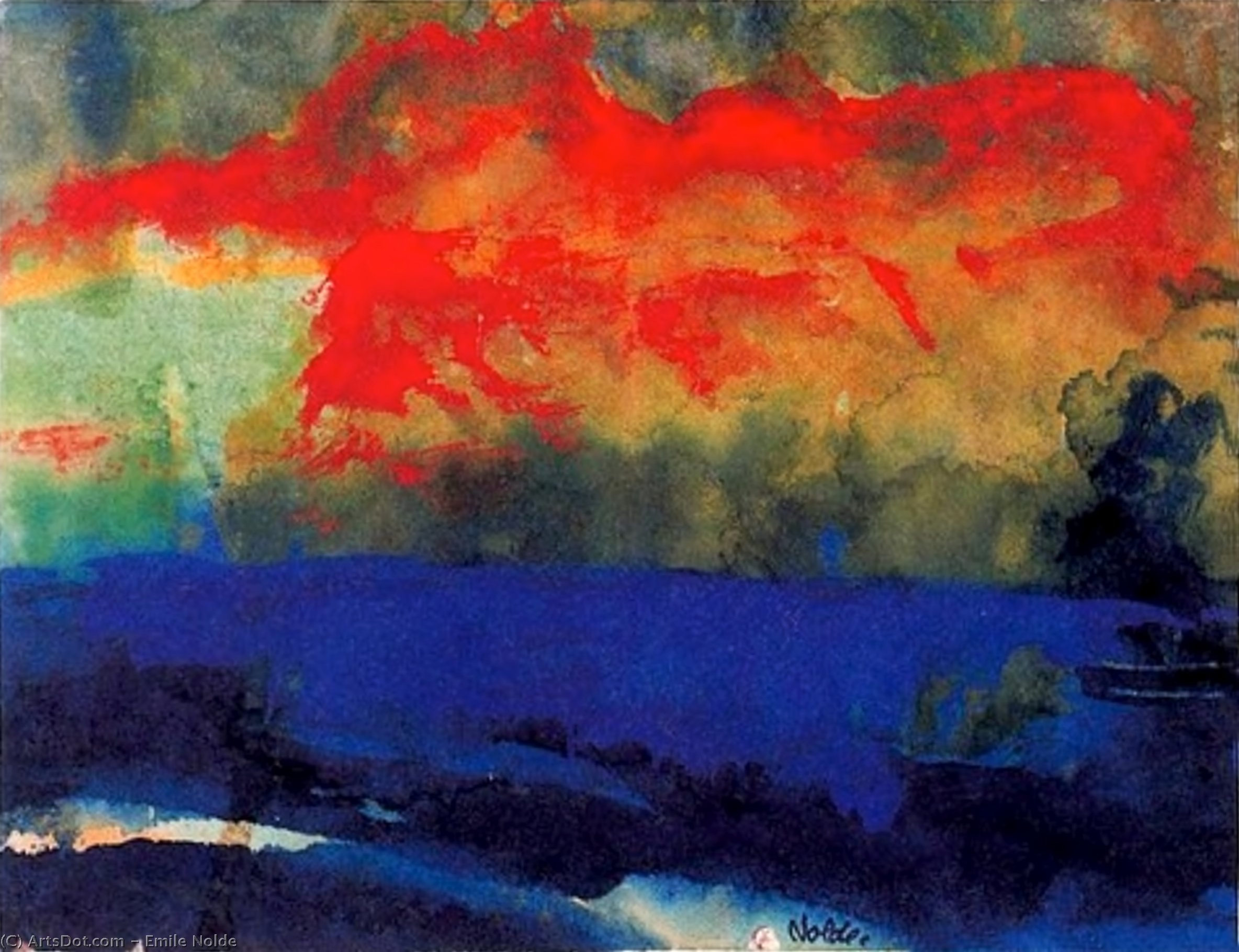 Blue Sea and Red Clouds by Emile Nolde (1867-1956, Germany)