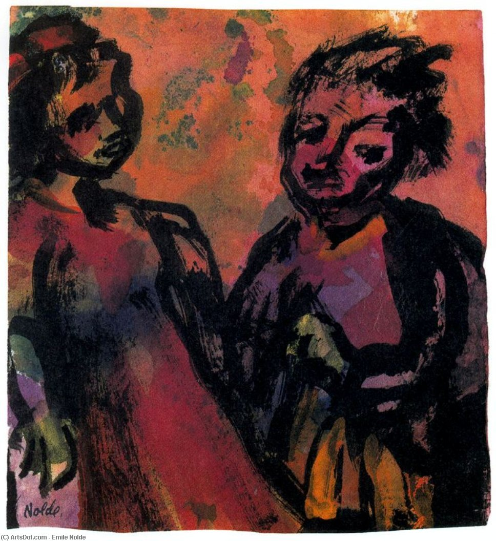 Couple (Reddish-brown) by Emile Nolde (1867-1956, Germany)