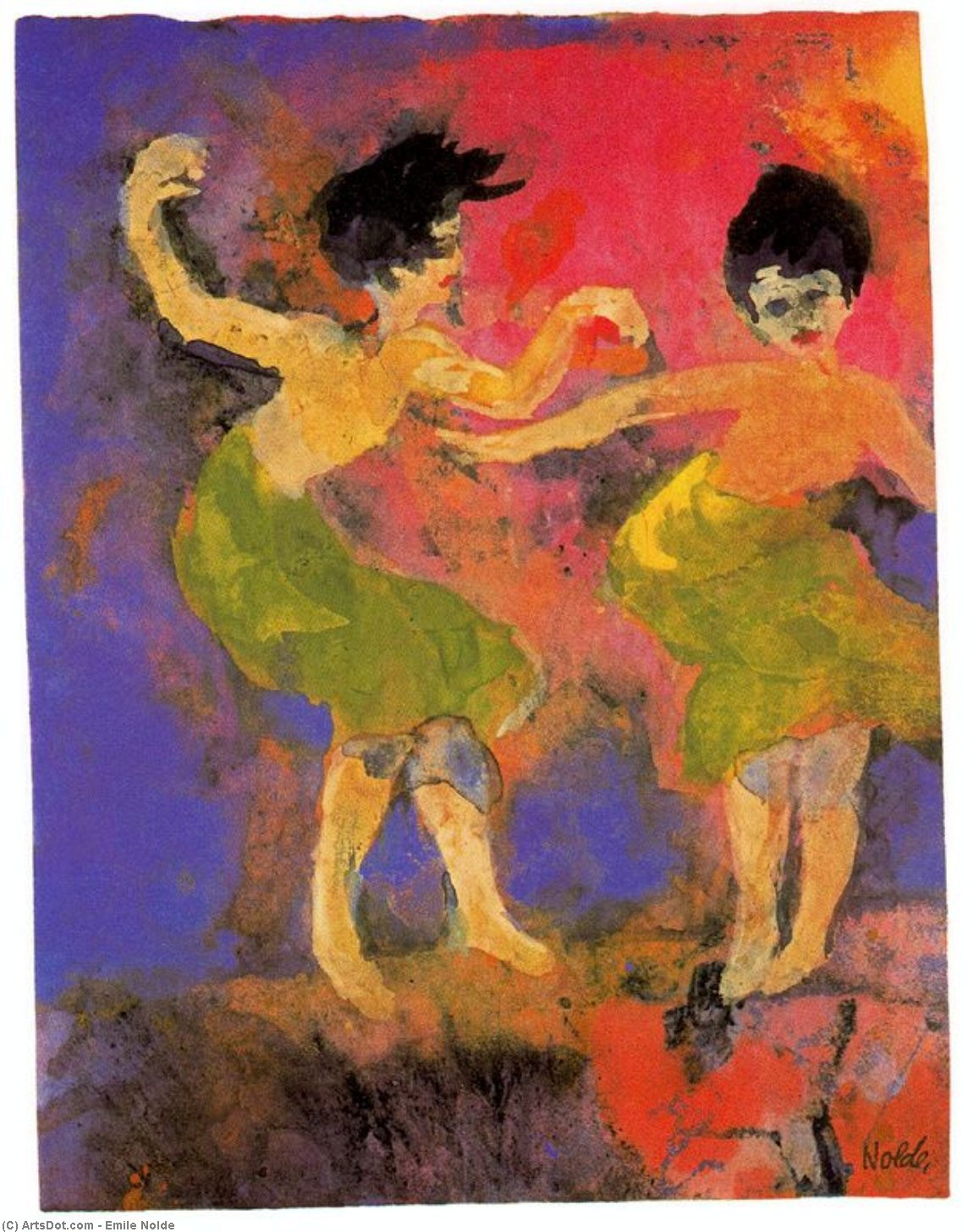 Dancing Women (with Green Skirts) by Emile Nolde (1867-1956, Germany)