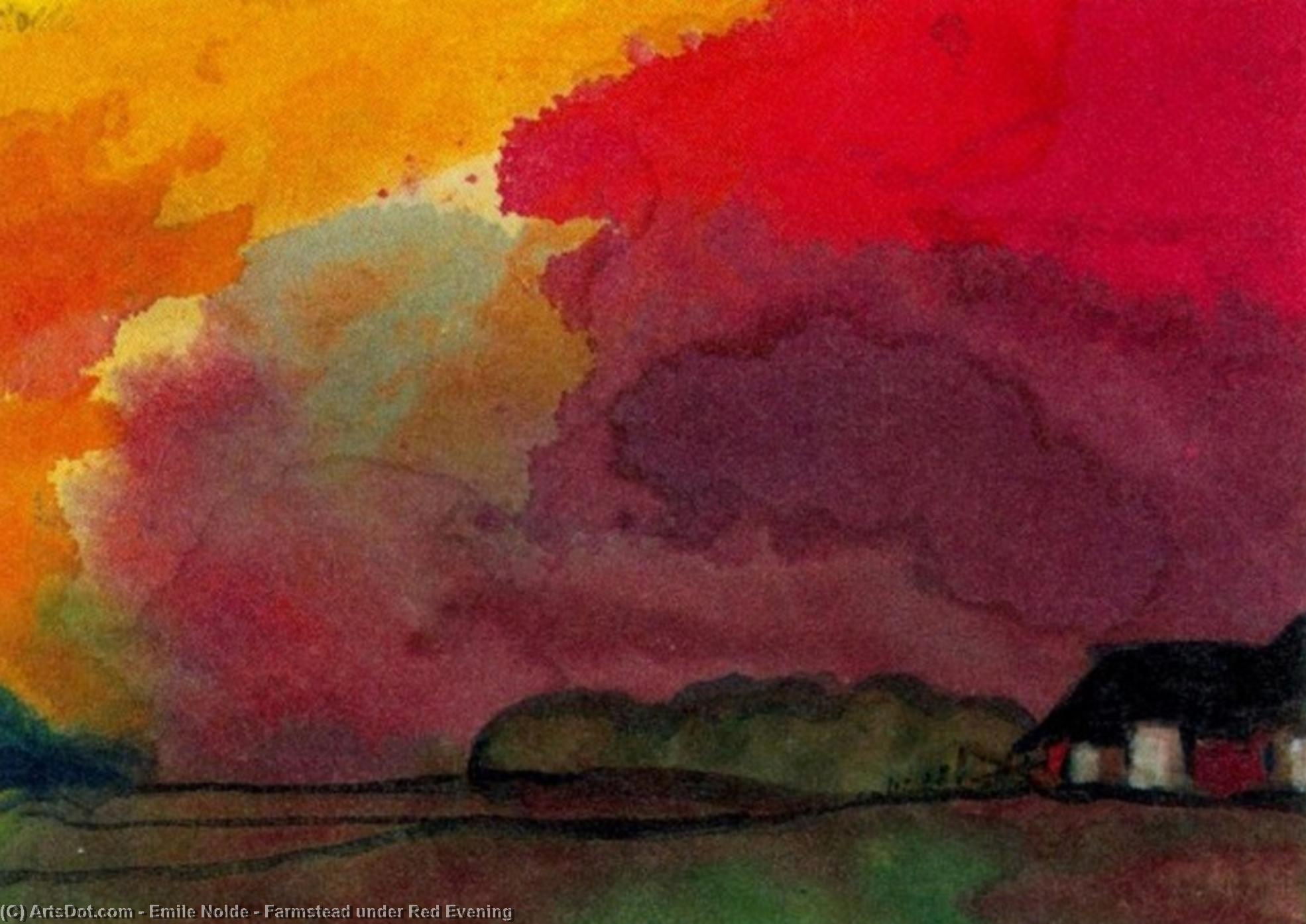 Farmstead under Red Evening by Emile Nolde (1867-1956, Germany) | Museum Art Reproductions | ArtsDot.com