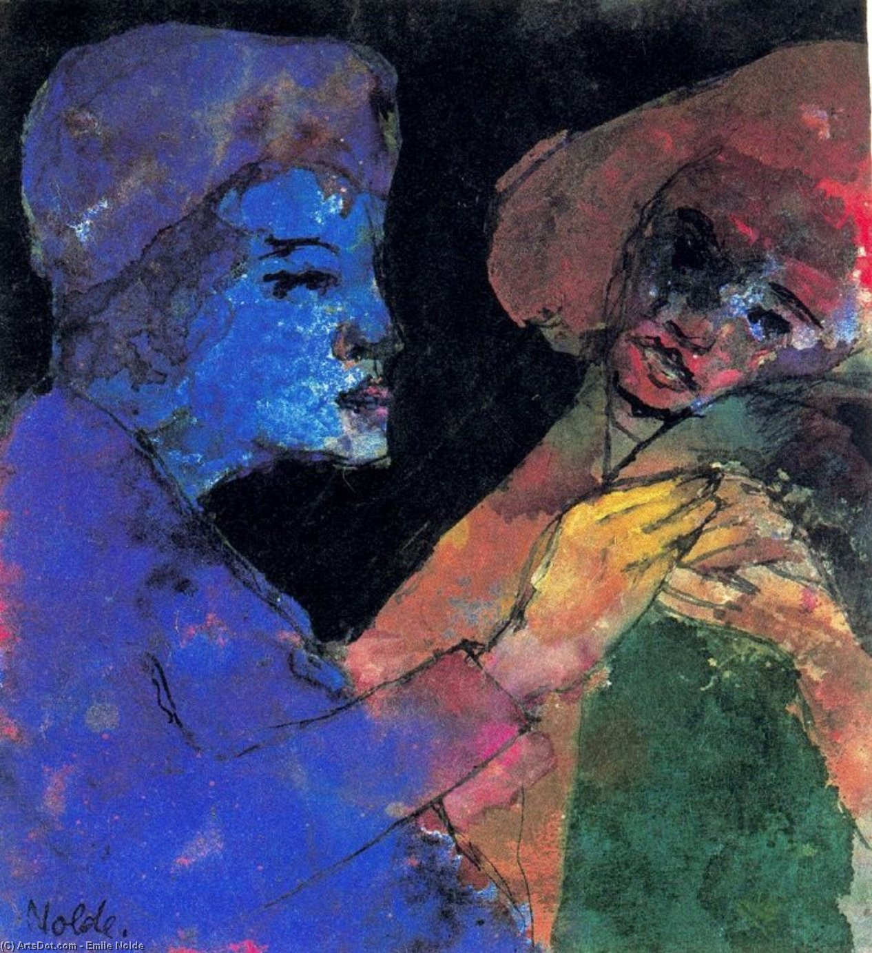 Flirting (Blue-violet and Green) by Emile Nolde (1867-1956, Germany)