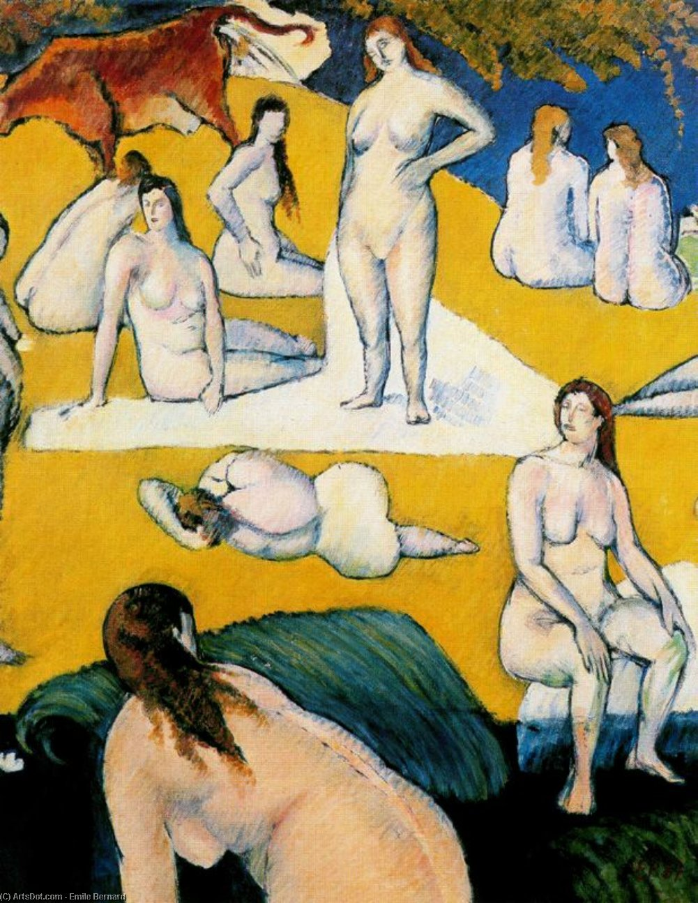 Bathers with Red Cow by Emile Bernard (1868-1941, France)