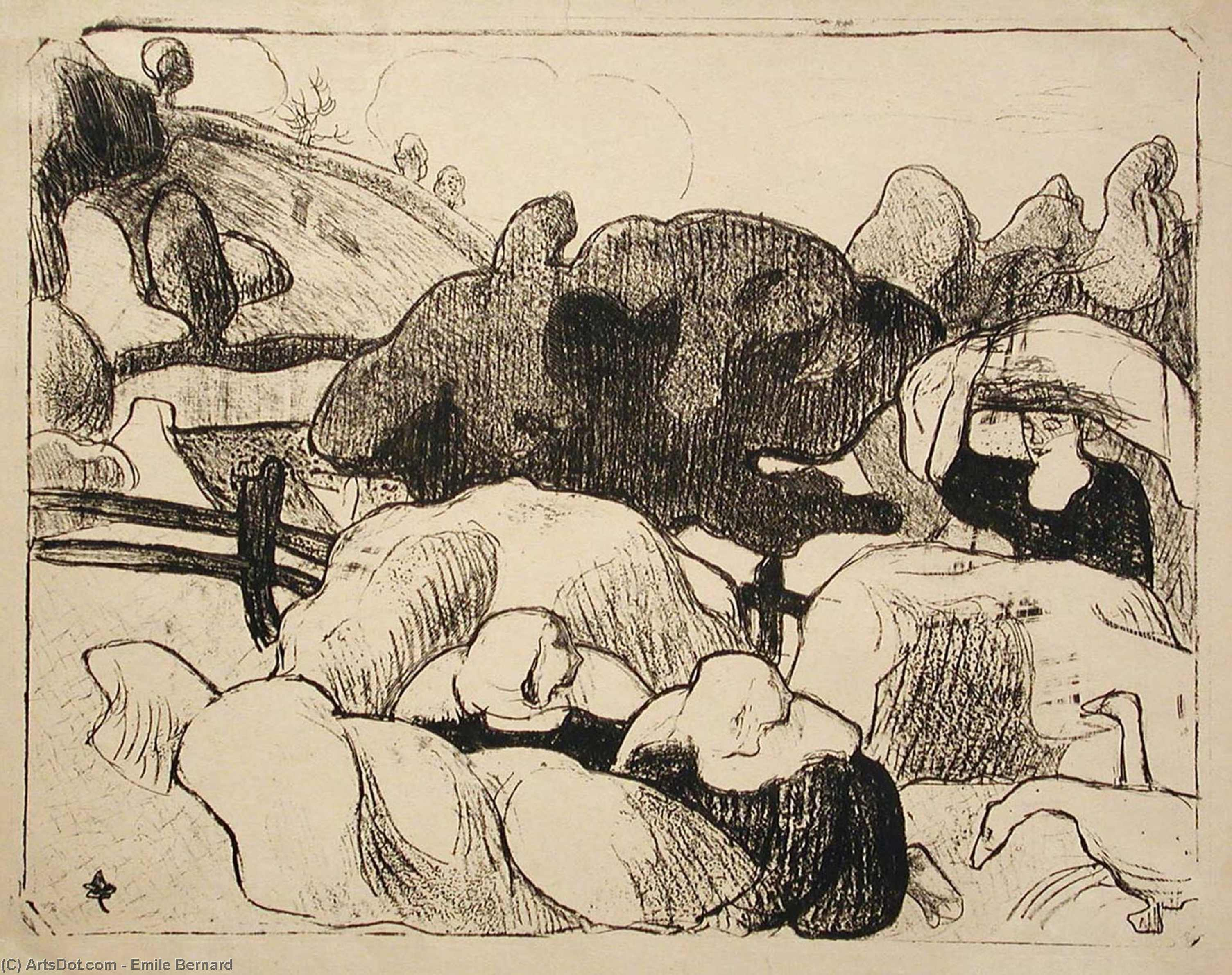 Femmes faisant les foins (Women Making Haystacks) by Emile Bernard (1868-1941, France)
