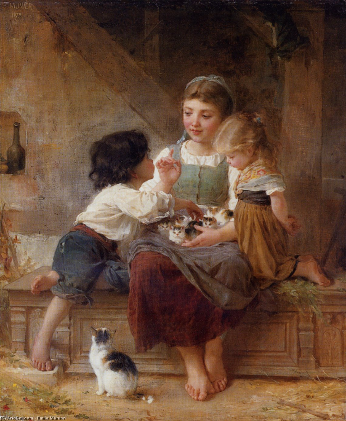 A Happy Family by Emile Munier (1840-1895, France) | Paintings Reproductions Emile Munier | ArtsDot.com