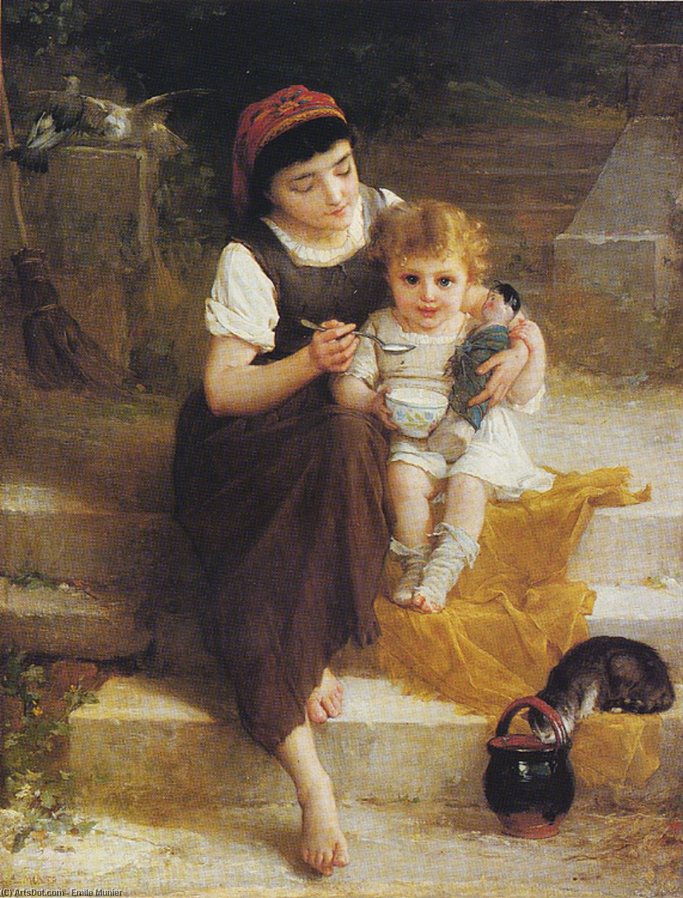 Lunch on the Steps by Emile Munier (1840-1895, France) | Painting Copy | ArtsDot.com