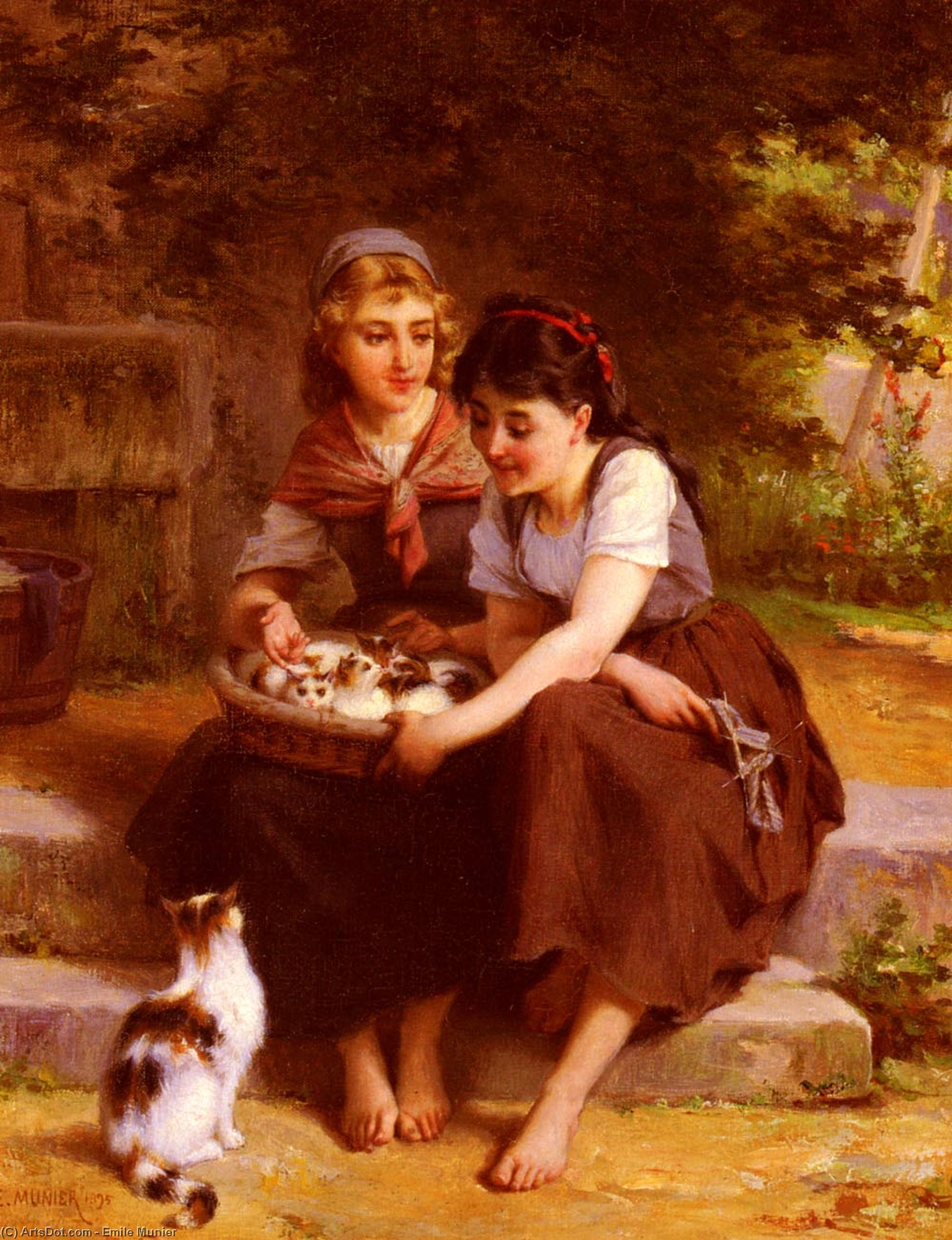 Two Girls With A Basket Of Kittens by Emile Munier (1840-1895, France)