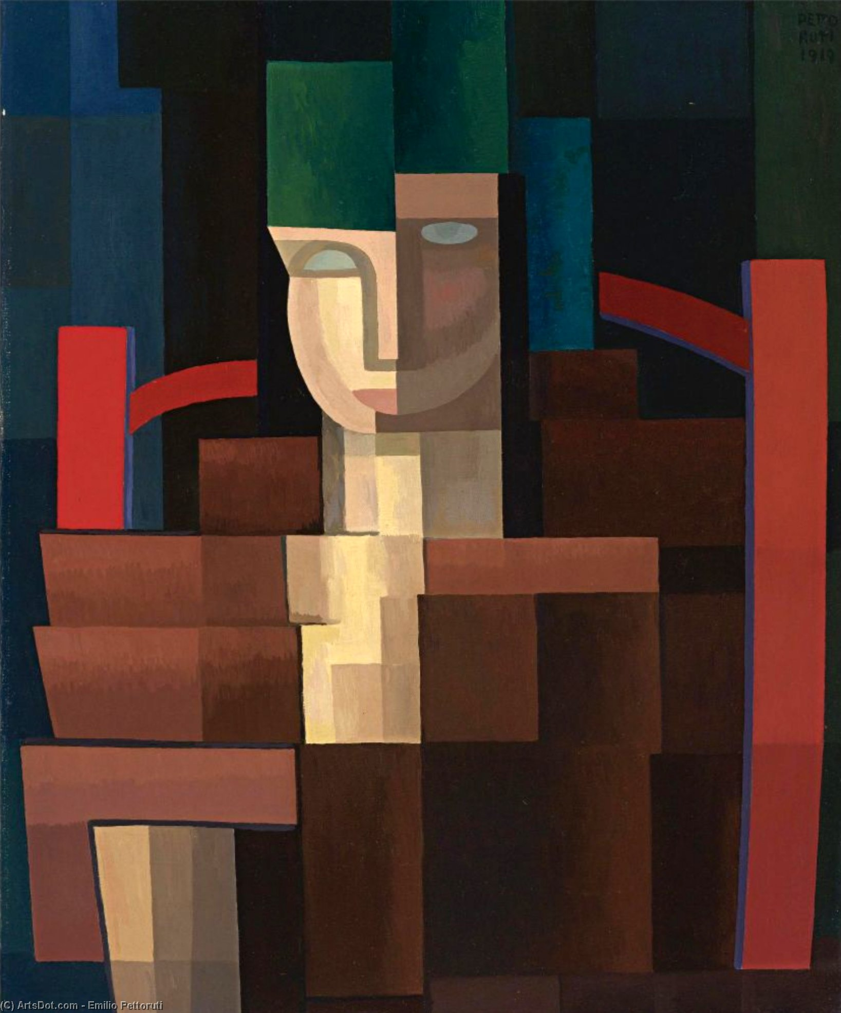 Lady with green hat by Emilio Pettoruti (1892-1971, Argentina) | Museum Art Reproductions | ArtsDot.com