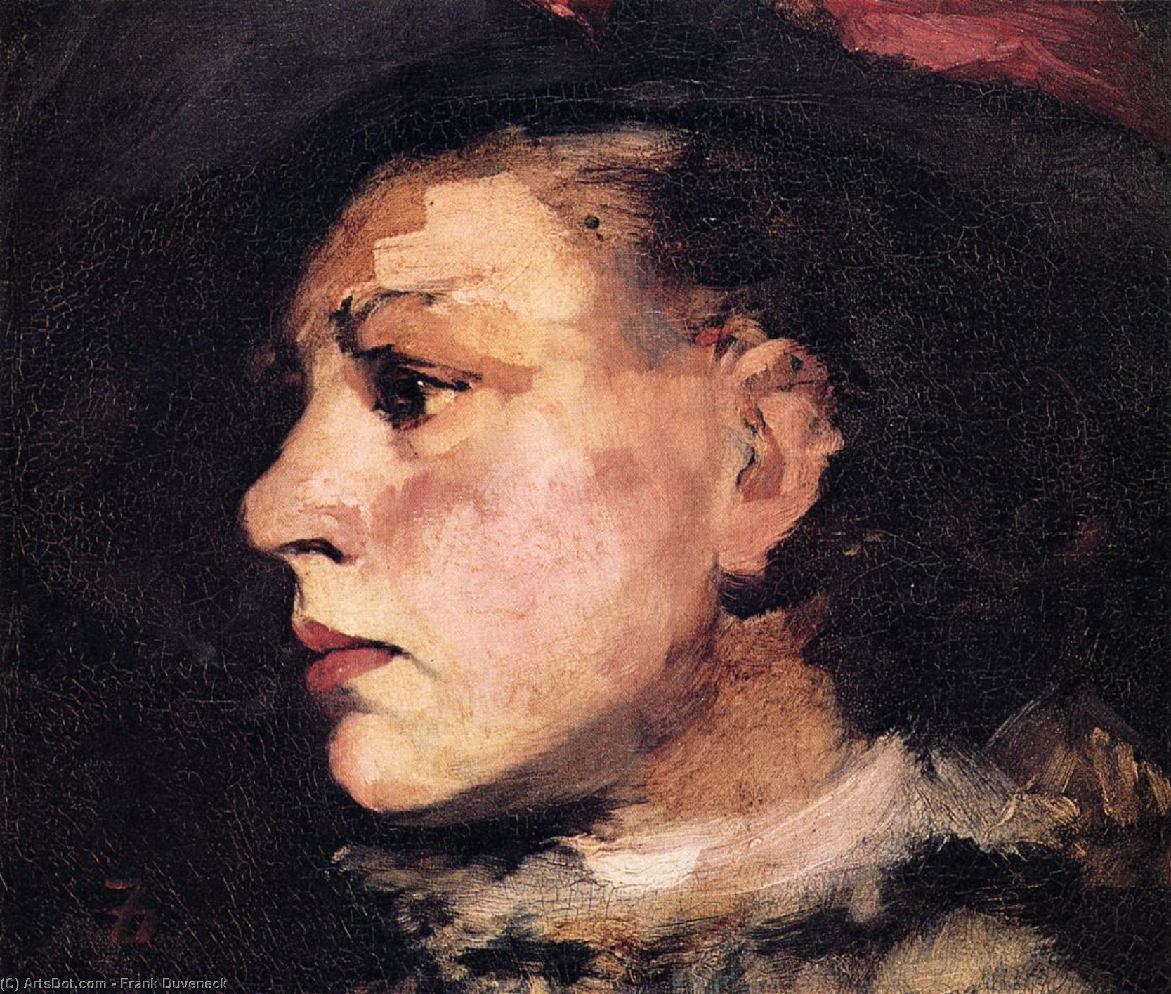Profile of Girl with Hat, Oil On Canvas by Frank Duveneck (1848-1919, United States)