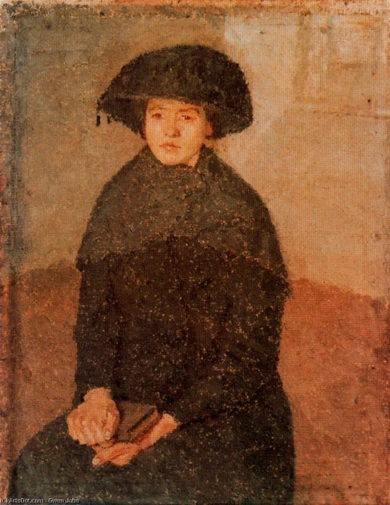 Girl Posing in a Hat with Tassels by Gwen John (1876-1939, United States)