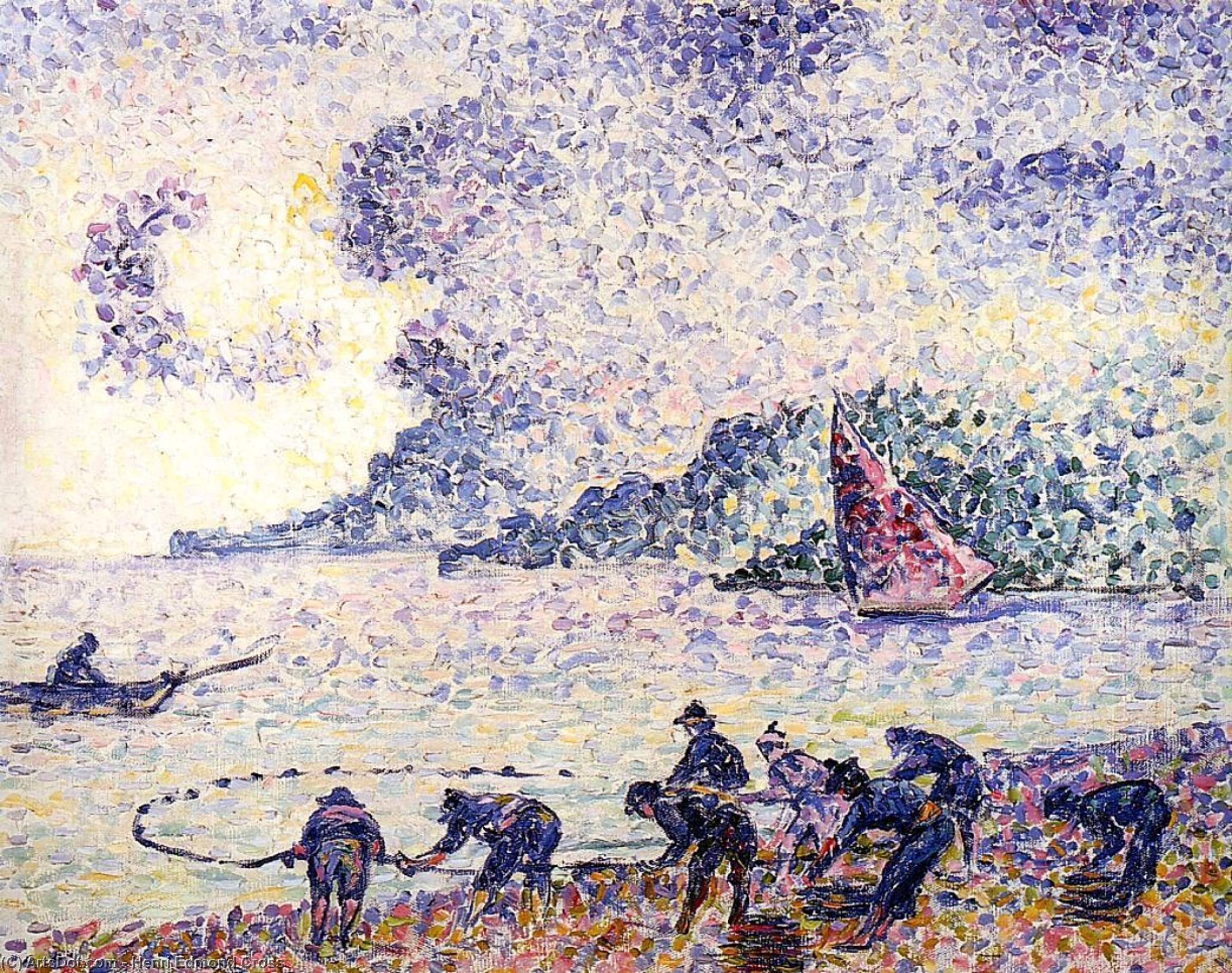 Fisherman, Oil On Canvas by Henri Edmond Cross (1856-1910, France)