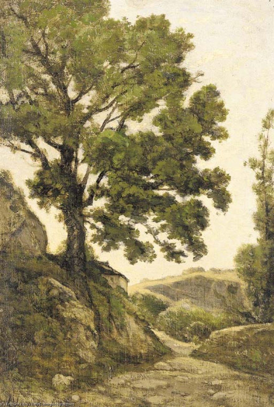 The great tree - Path in the countryside by Henri-Joseph Harpignies (1819-1916, France)