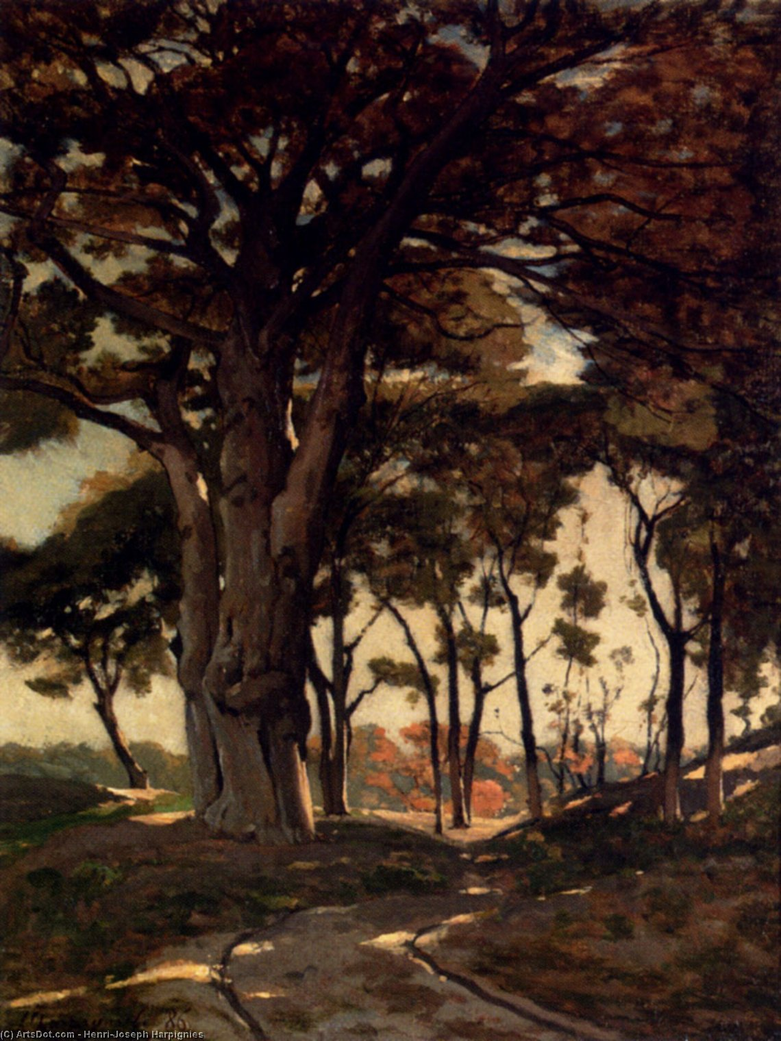 Wooded Landscape With A Cart Path by Henri-Joseph Harpignies (1819-1916, France)