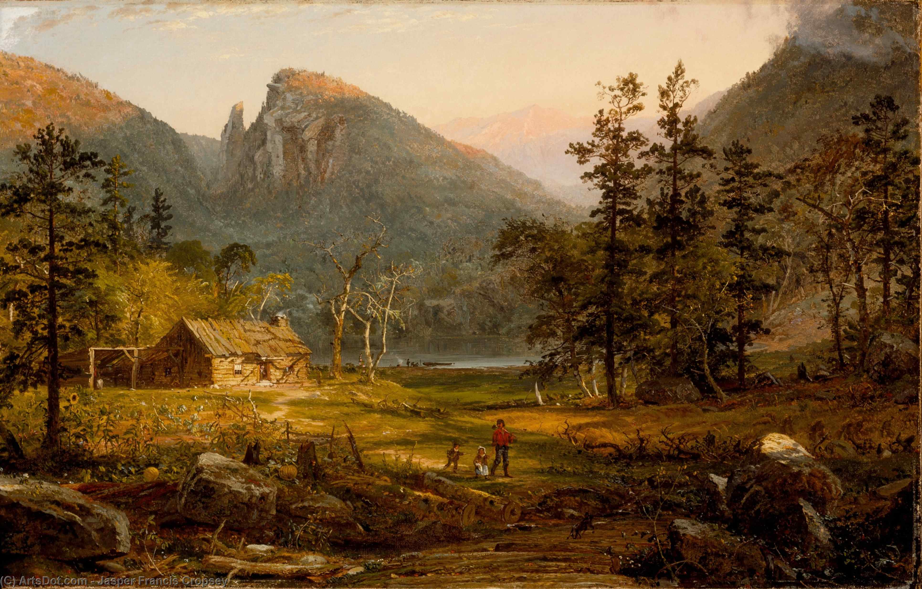 Pioneer's Home, Eagle Cliff, White Mountains by Jasper Francis Cropsey (1823-1900, United States)