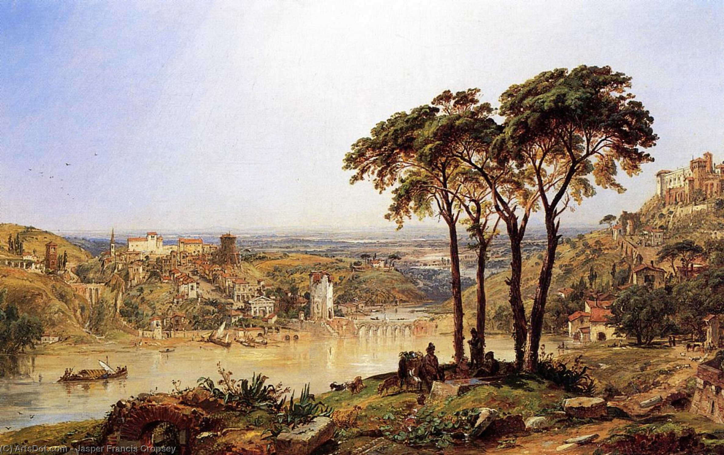 Summer, Noonday on the Arno, Oil On Canvas by Jasper Francis Cropsey (1823-1900, United States)