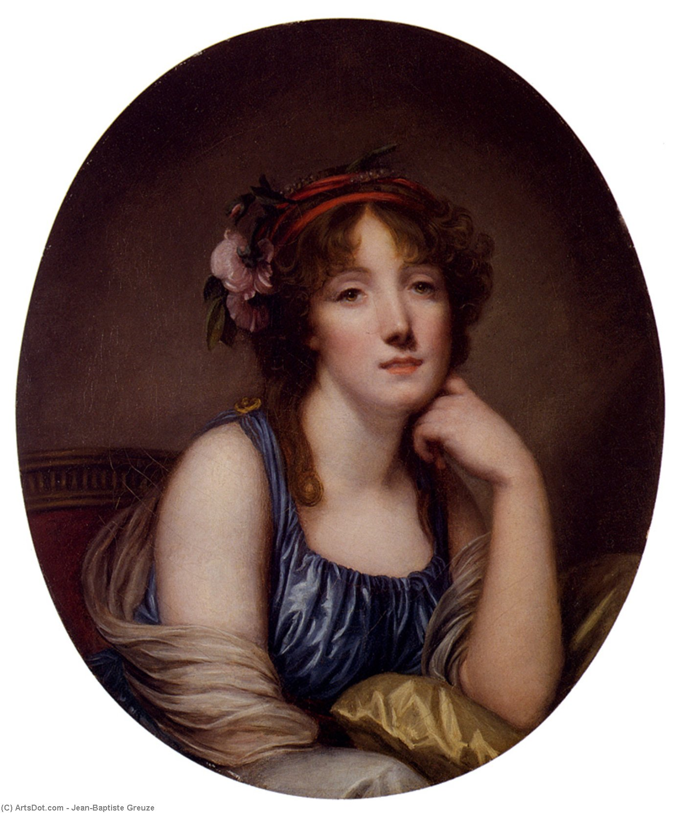 Portrait Of A Young Woman, Said To Be The Artist's Daughter by Jean-Baptiste Greuze (1725-1805, France)