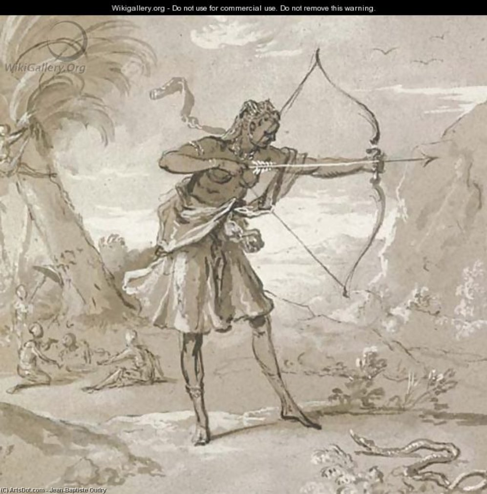 Order Painting Copy : A female archer in a landscape, a snake to the right by Jean-Baptiste Oudry (1686-1755, France) | ArtsDot.com